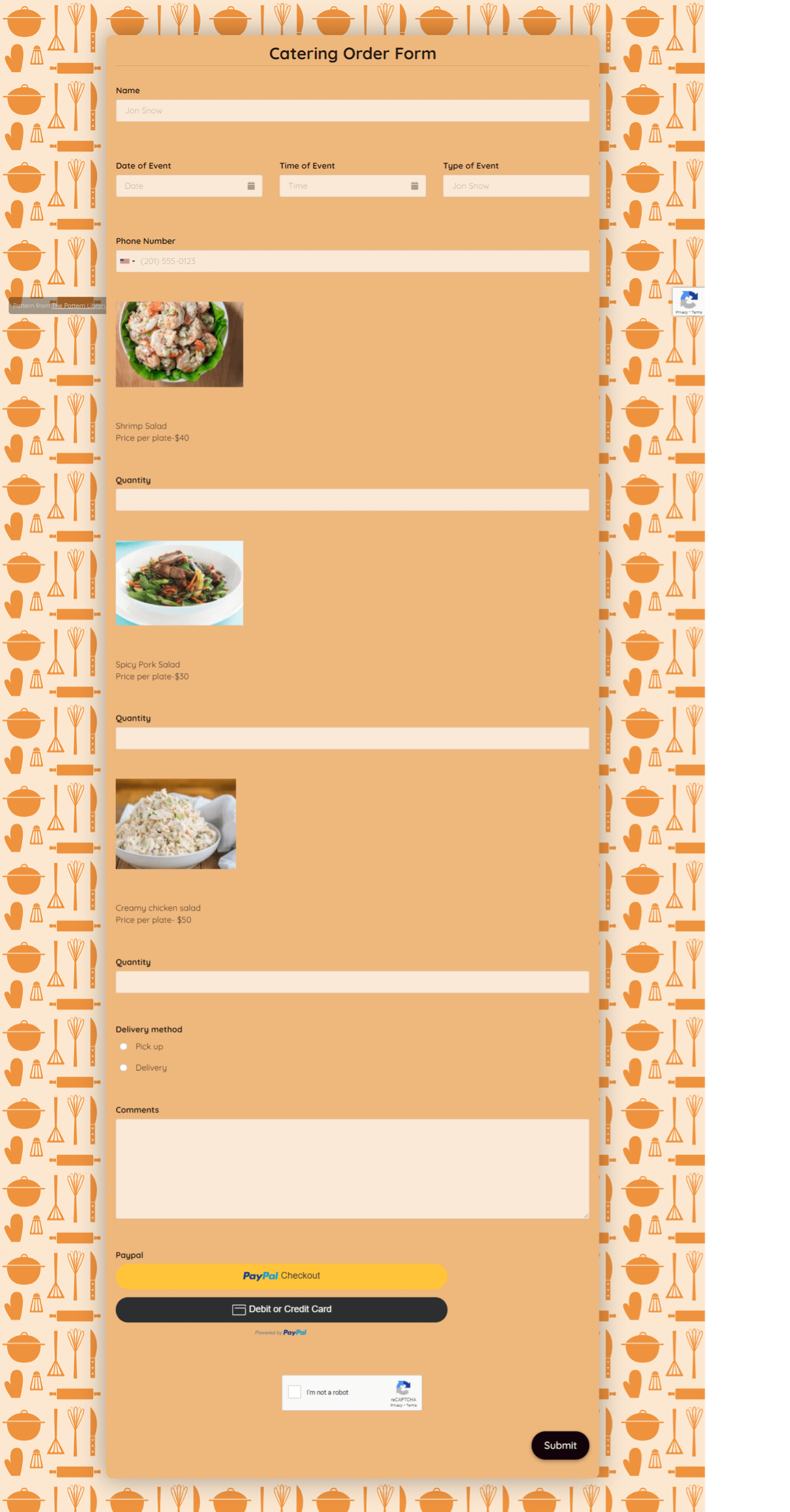 Catering Order Form Template template