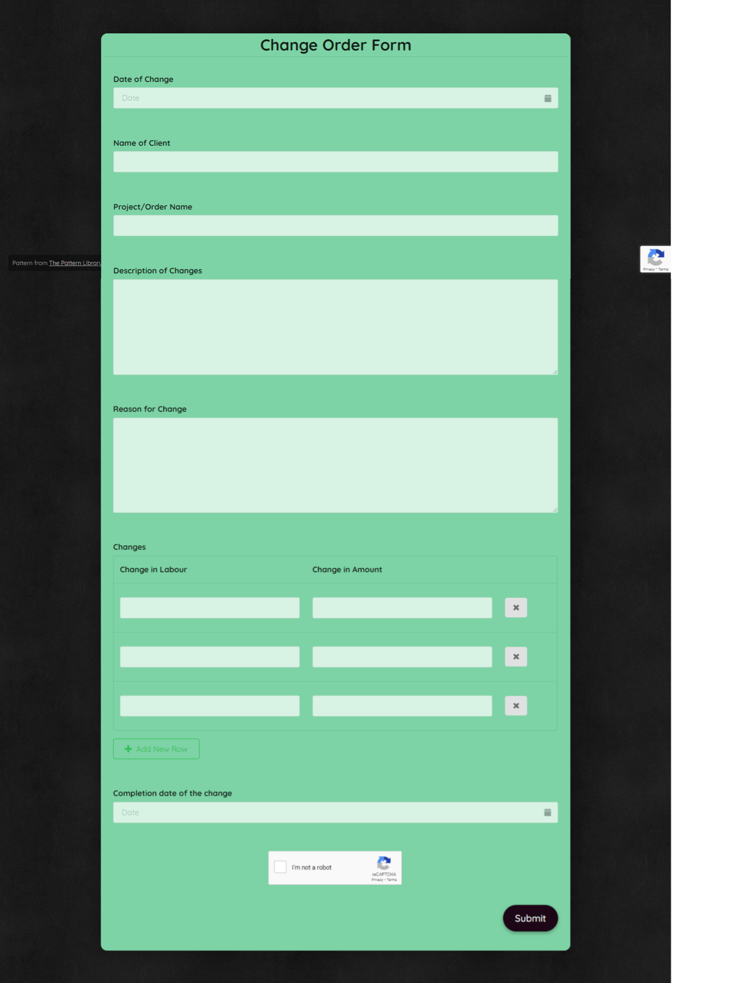 Change Order Form Template template