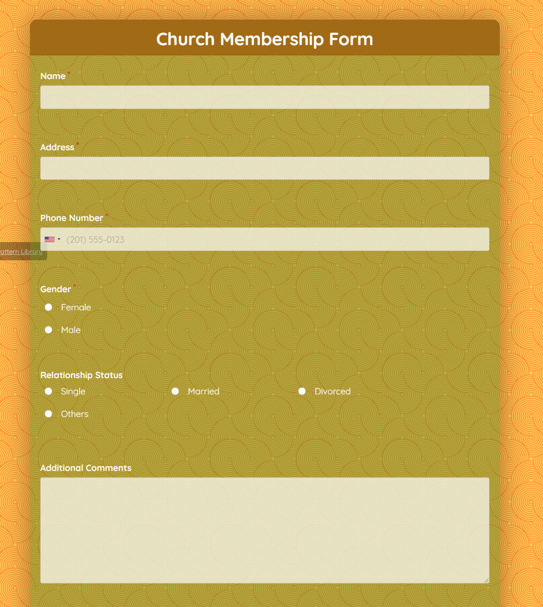 Church Membership Form Template template