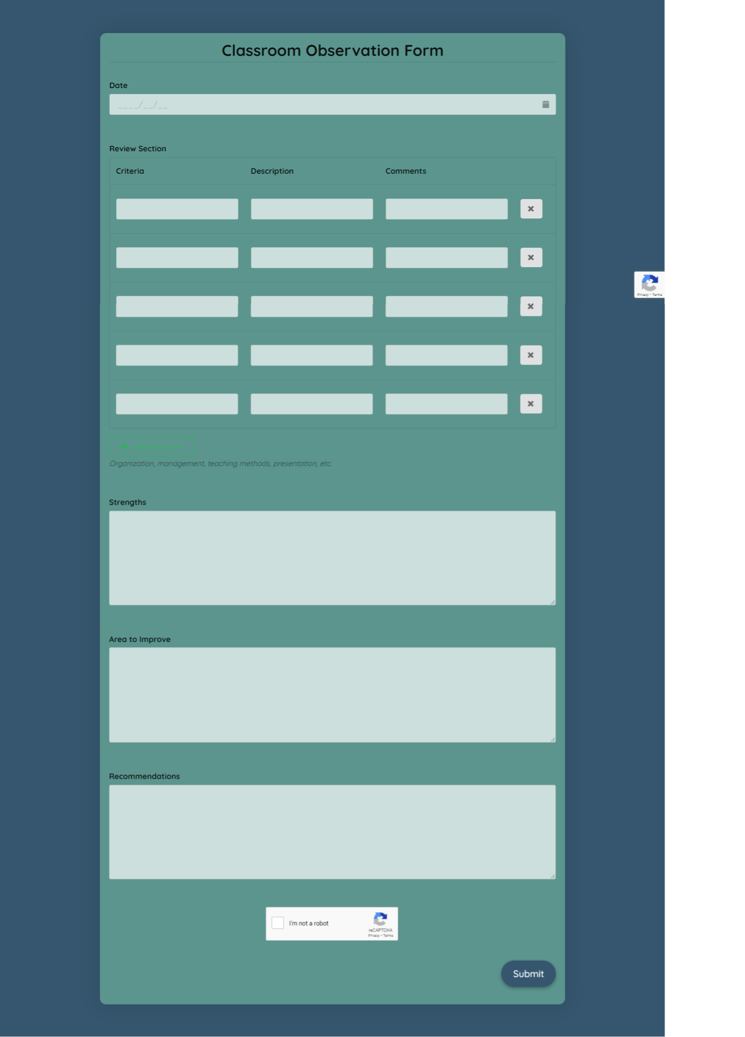 Classroom Observation Form Template template