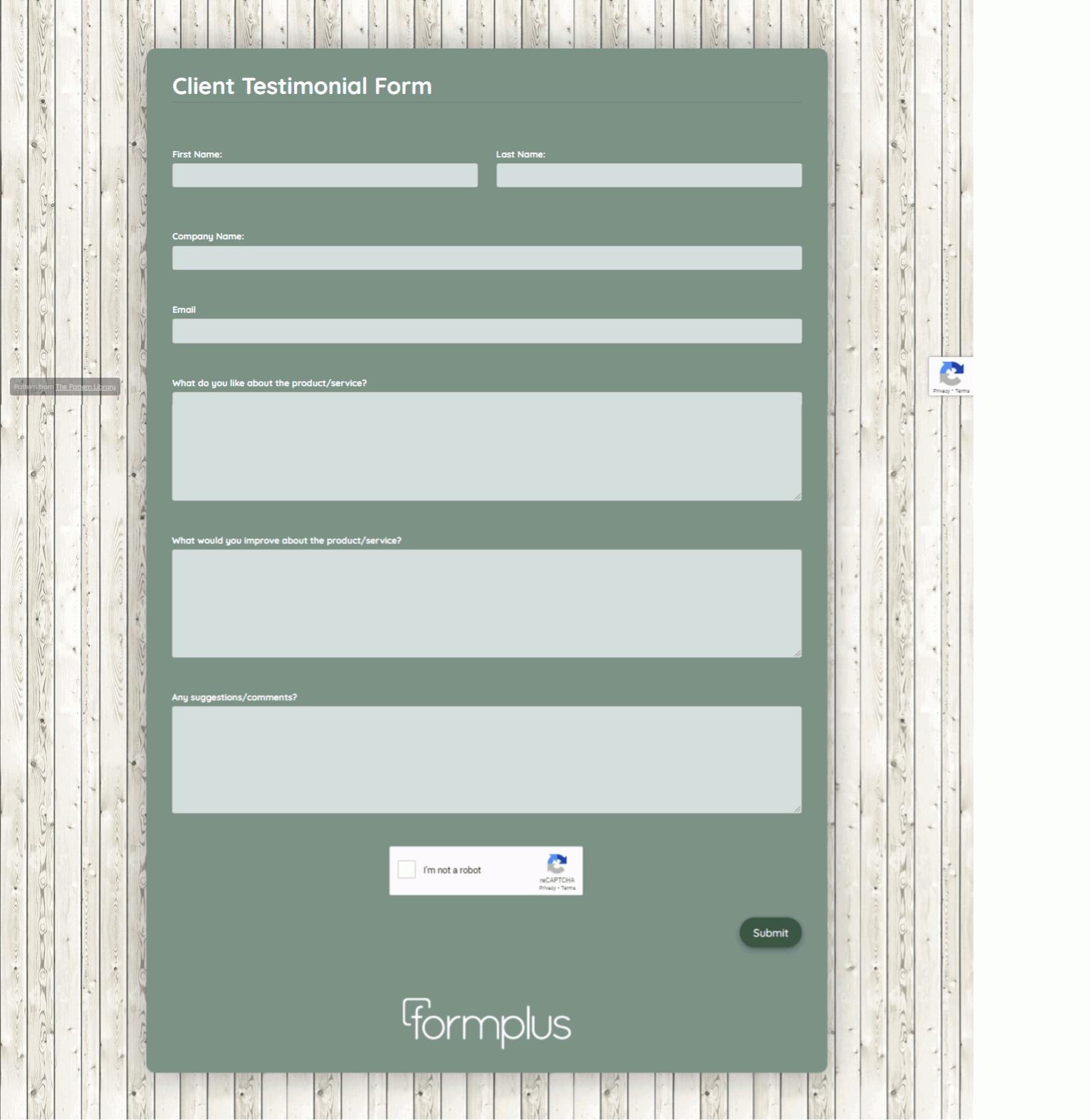 Client Testimonial Form Template template