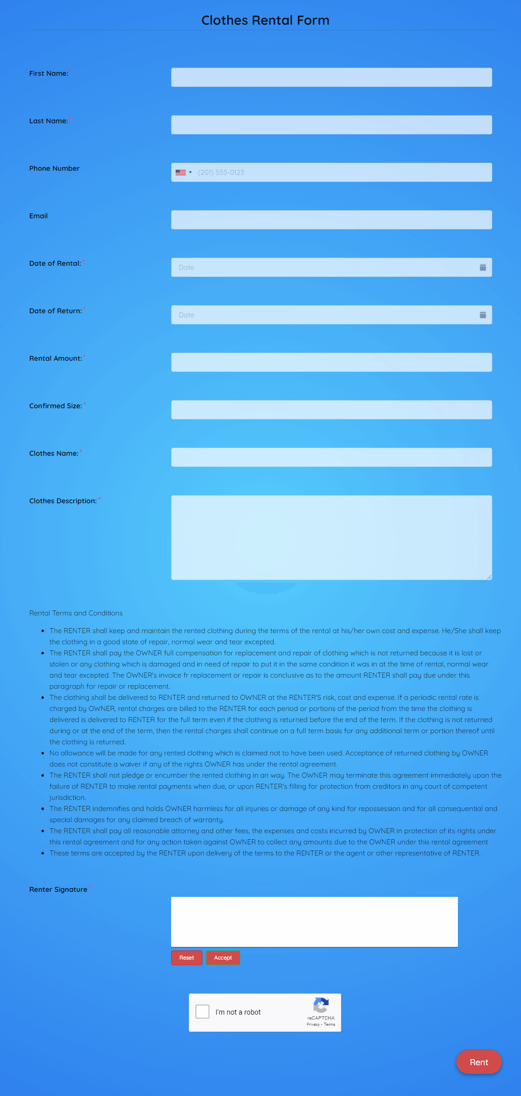 Clothes Rental Form Template template