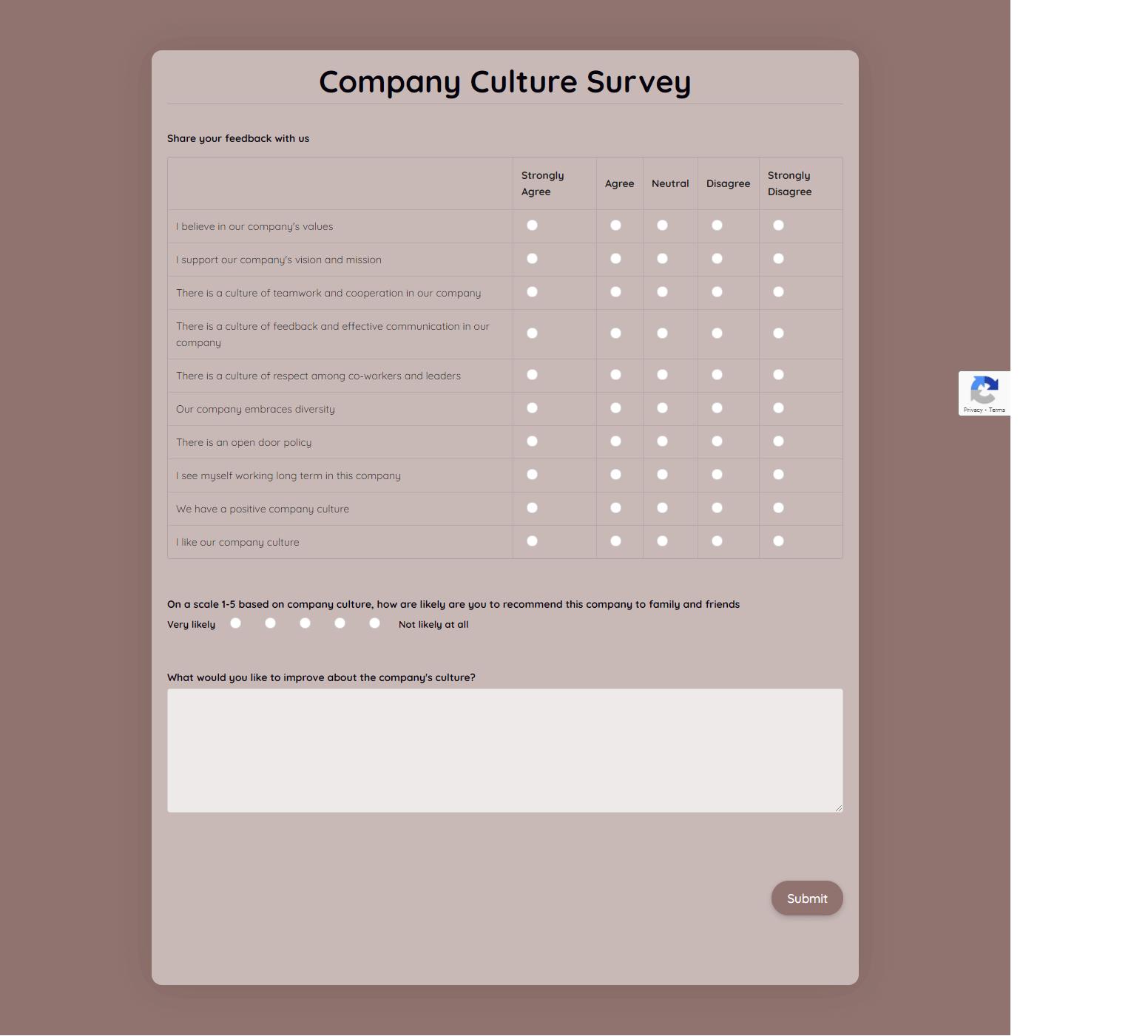 Company Culture Survey Template template