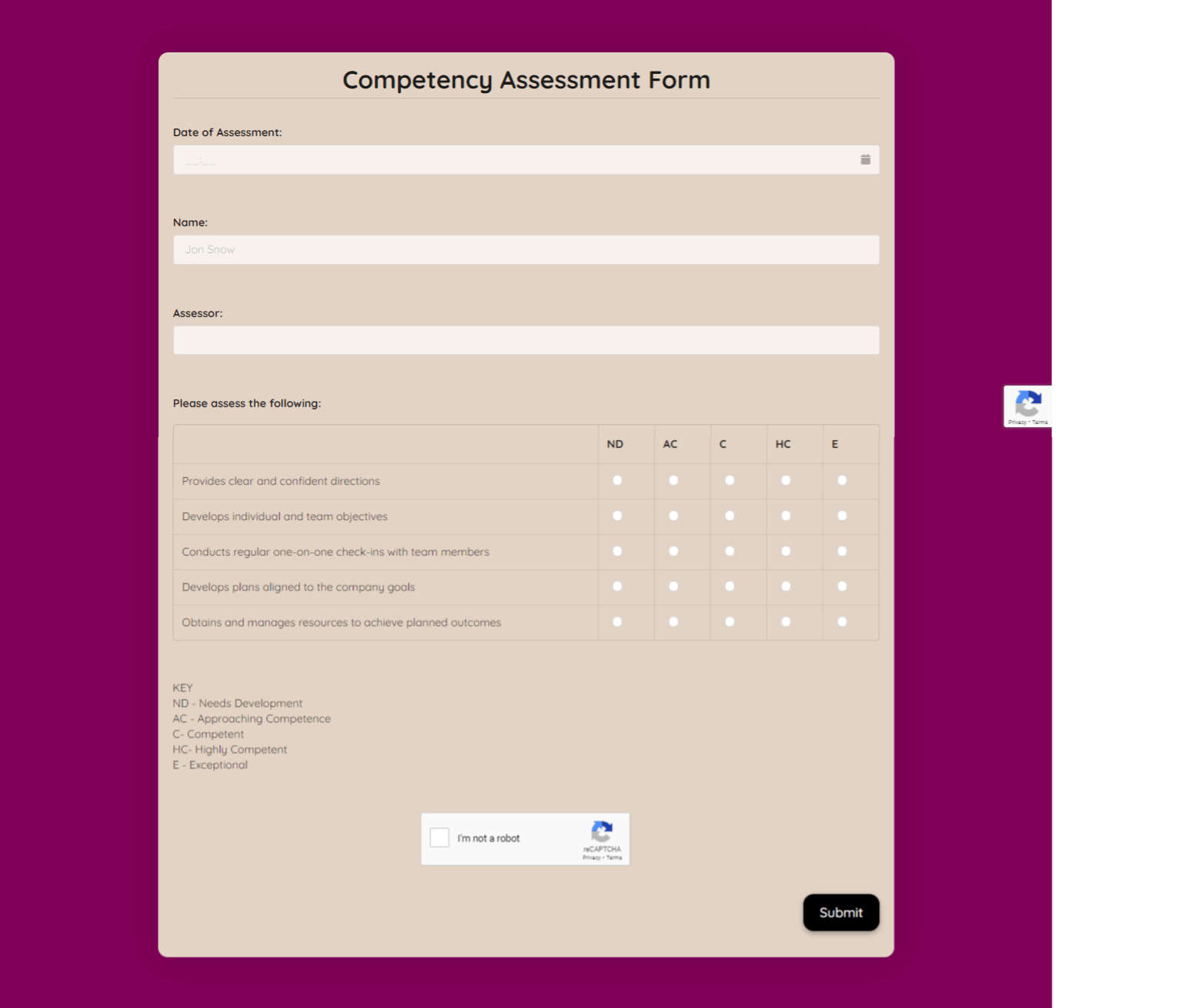 Competency Assessment Form Template template