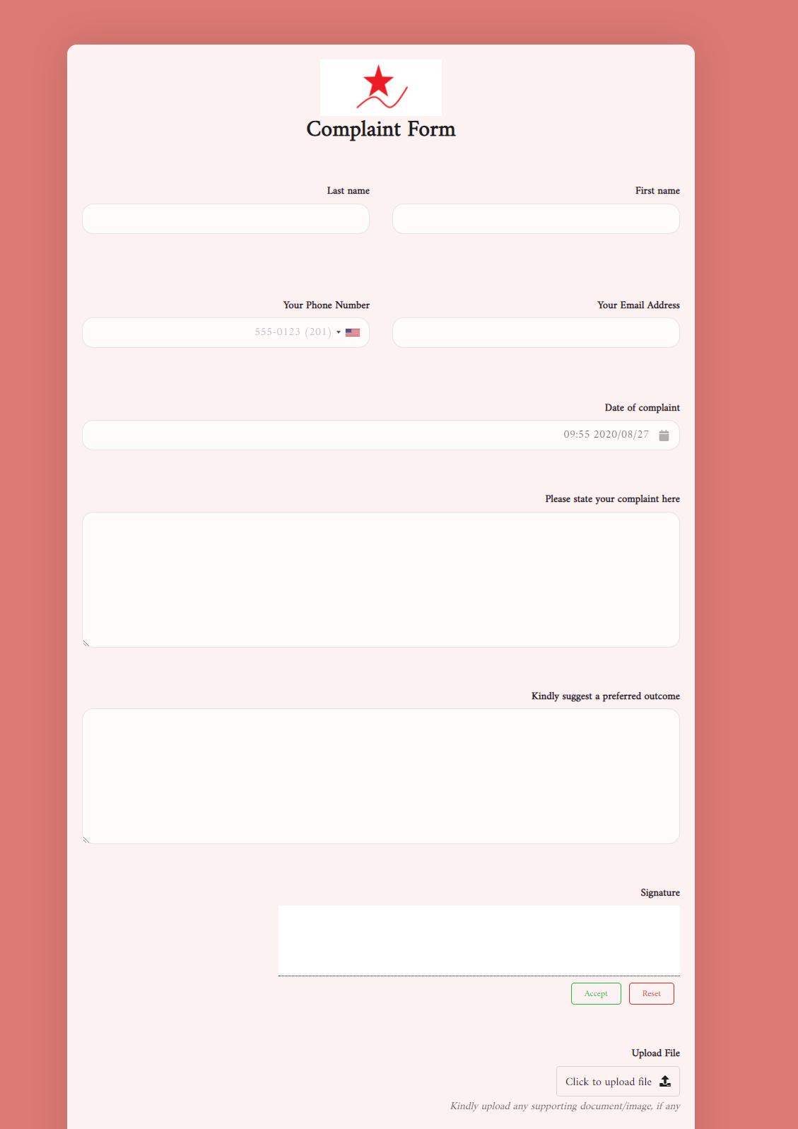 Complaint Form Template template