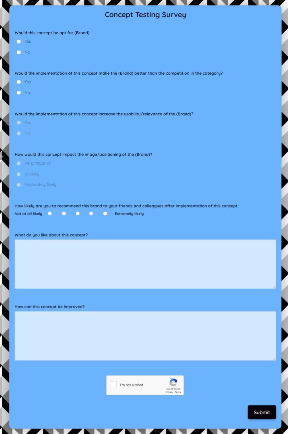 Concept Testing Survey Template template