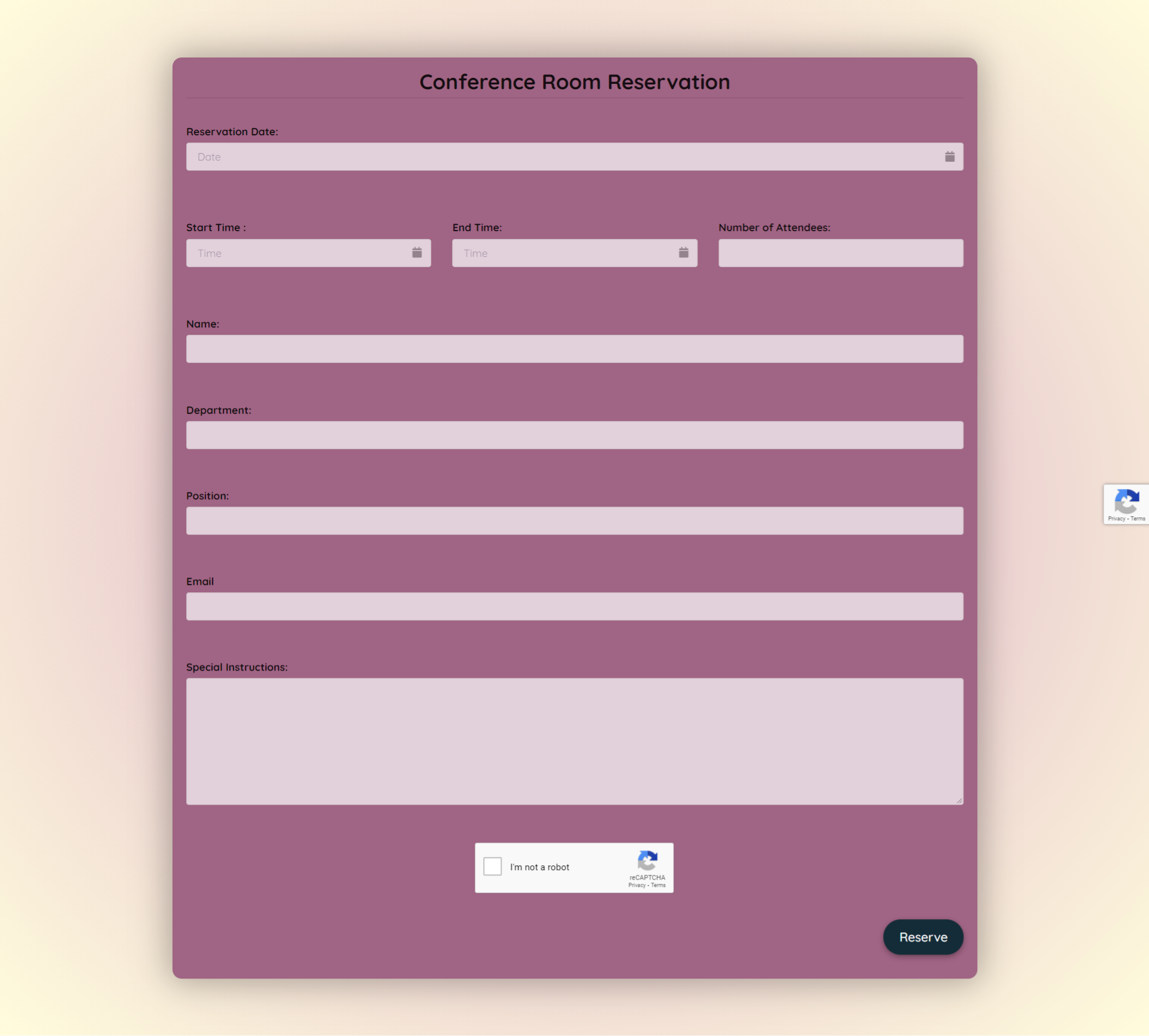 Conference Room Reservation Form Template template