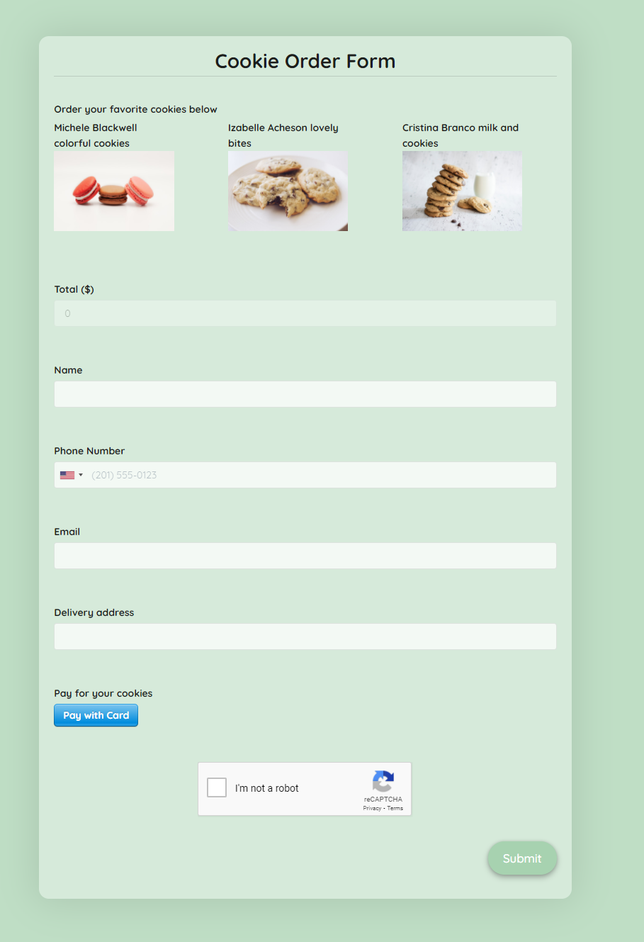 Cookie Order Form Template template