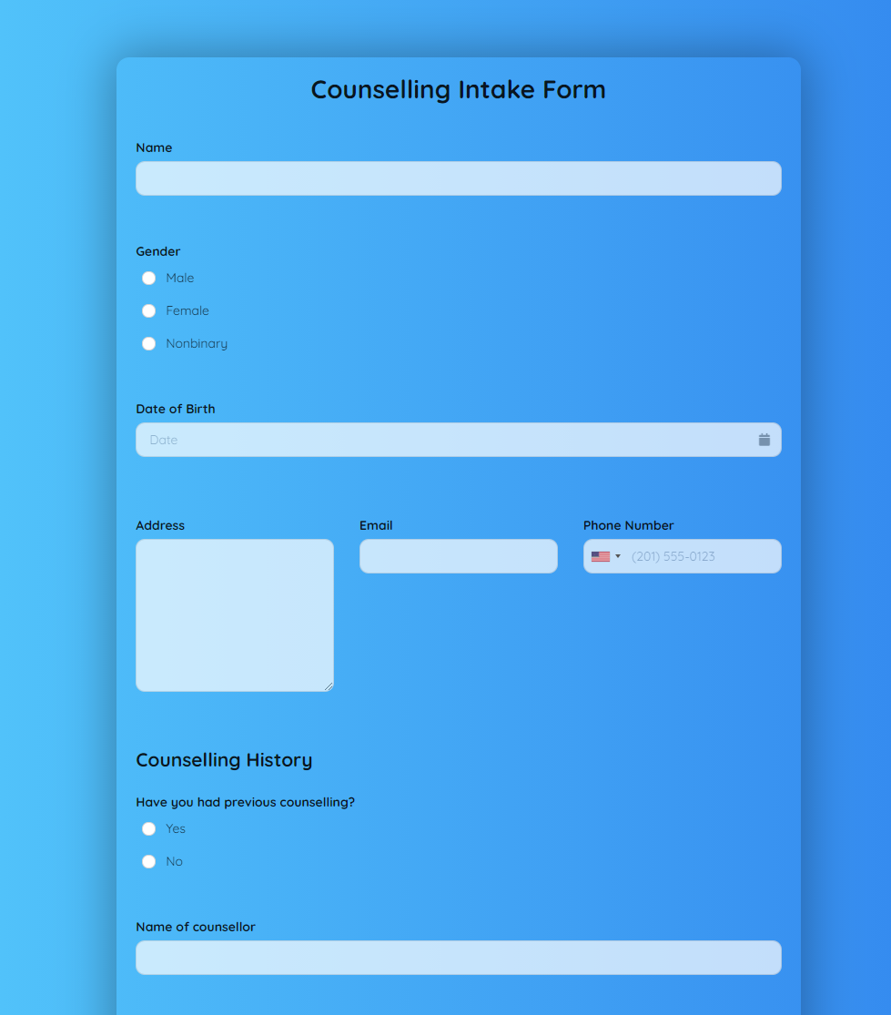 Counselling Intake Form Template template