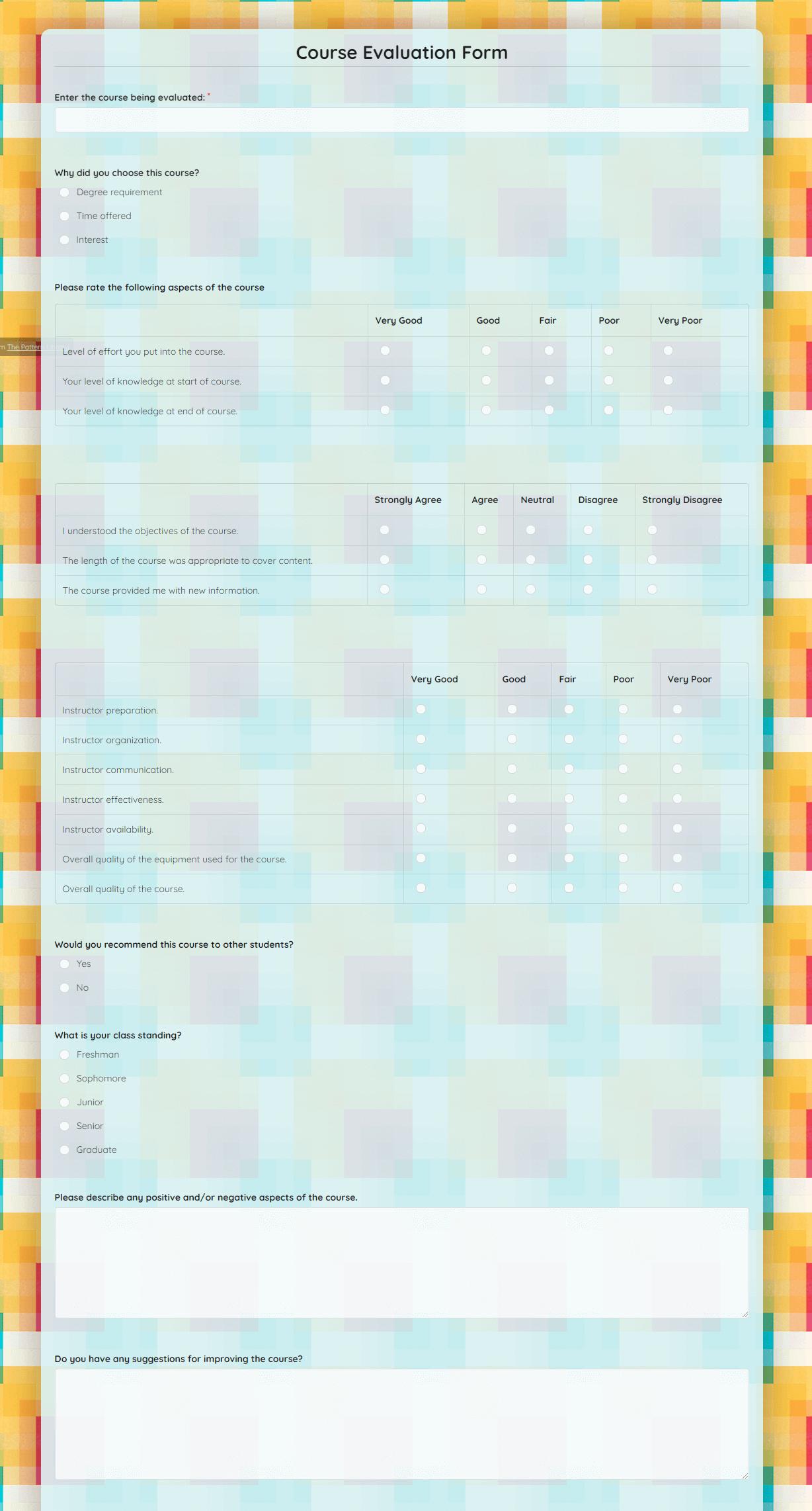 Course Evaluation Form Template template