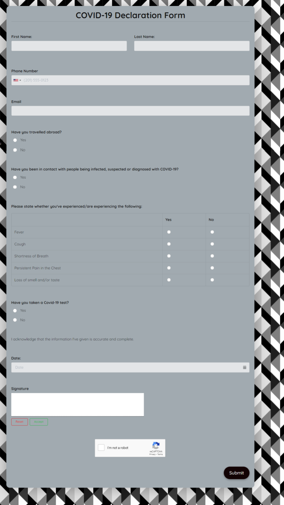 Covid19 Declaration Form Template template