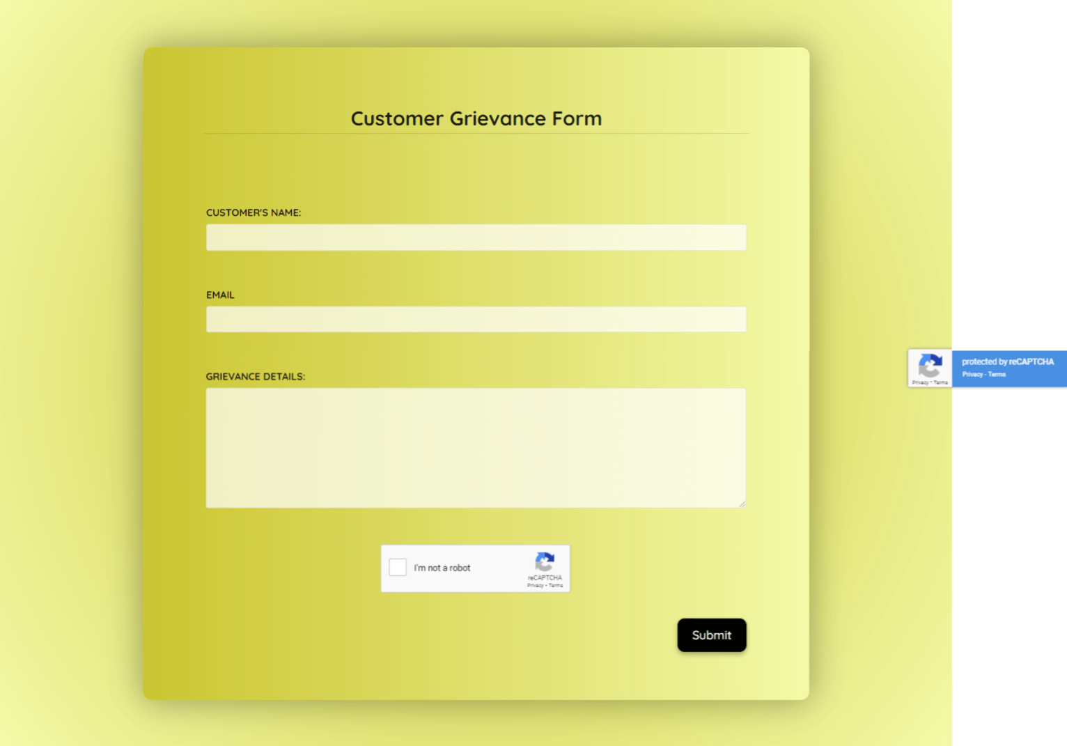 Customer Grievance Form Template template