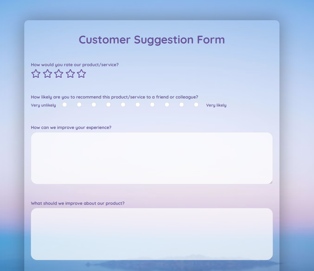 Customer Suggestion Form Template template
