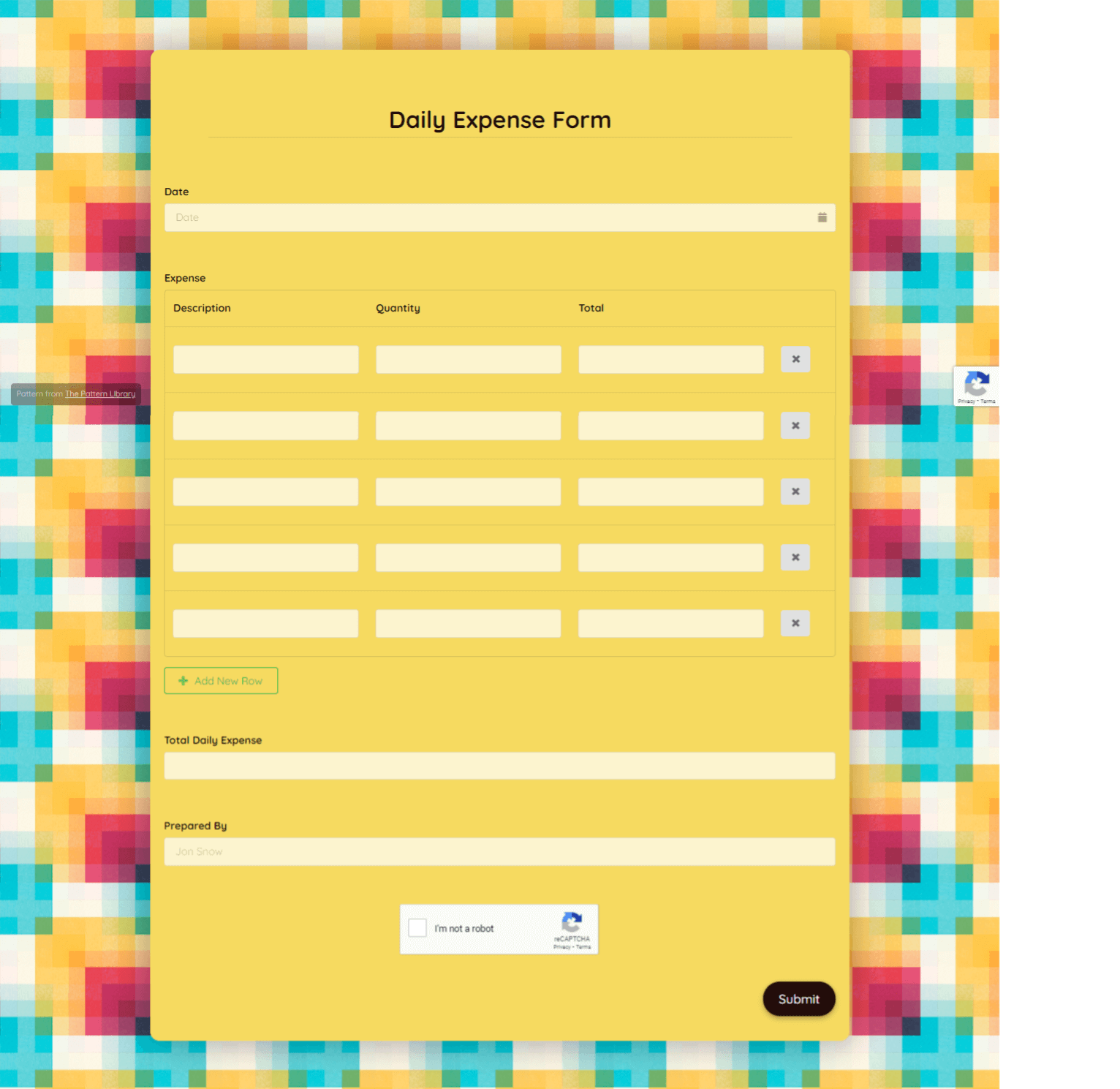Daily Expense Form Template template