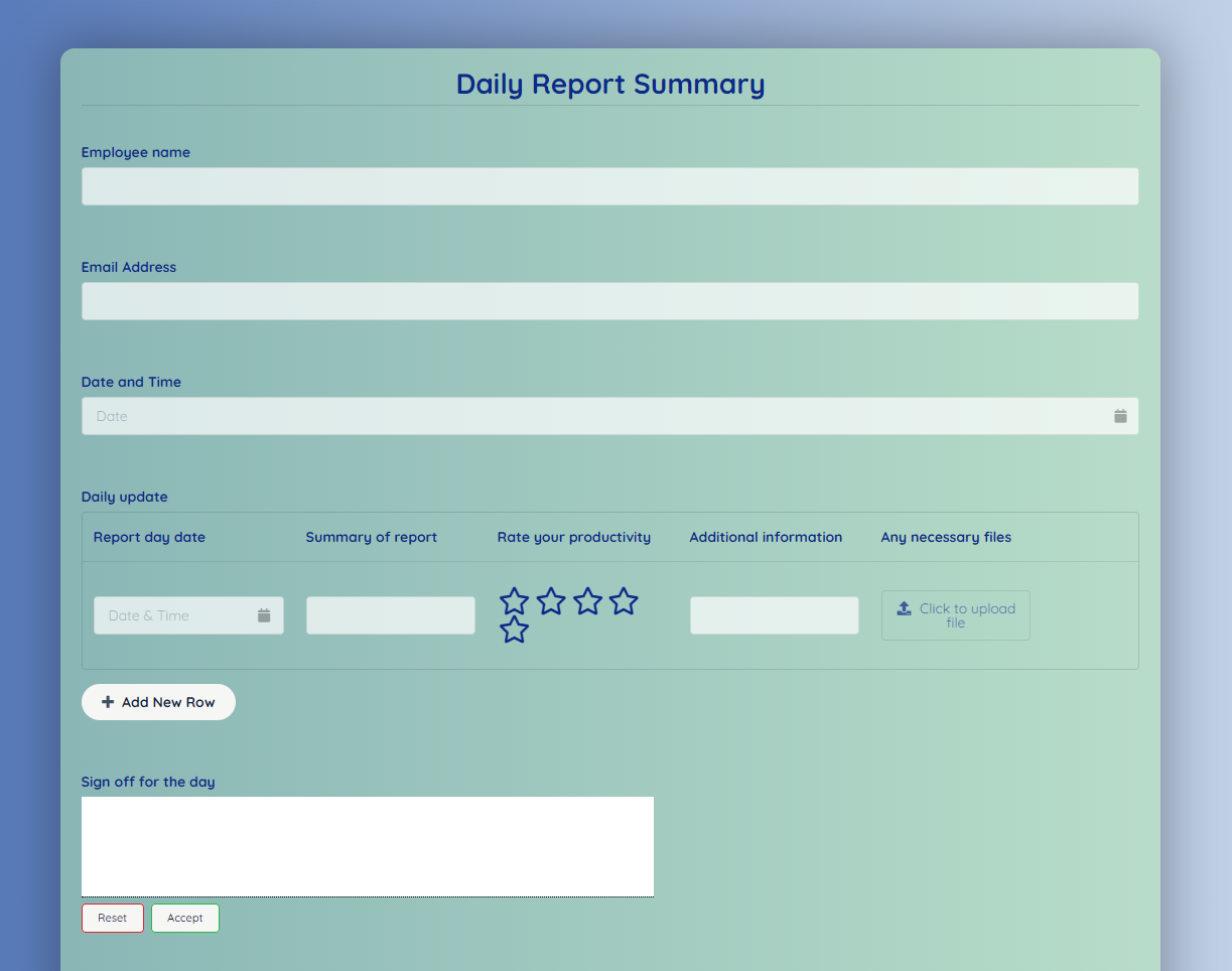 Daily Report Form Template template