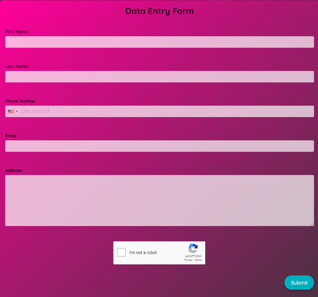 Data Entry Form Template template