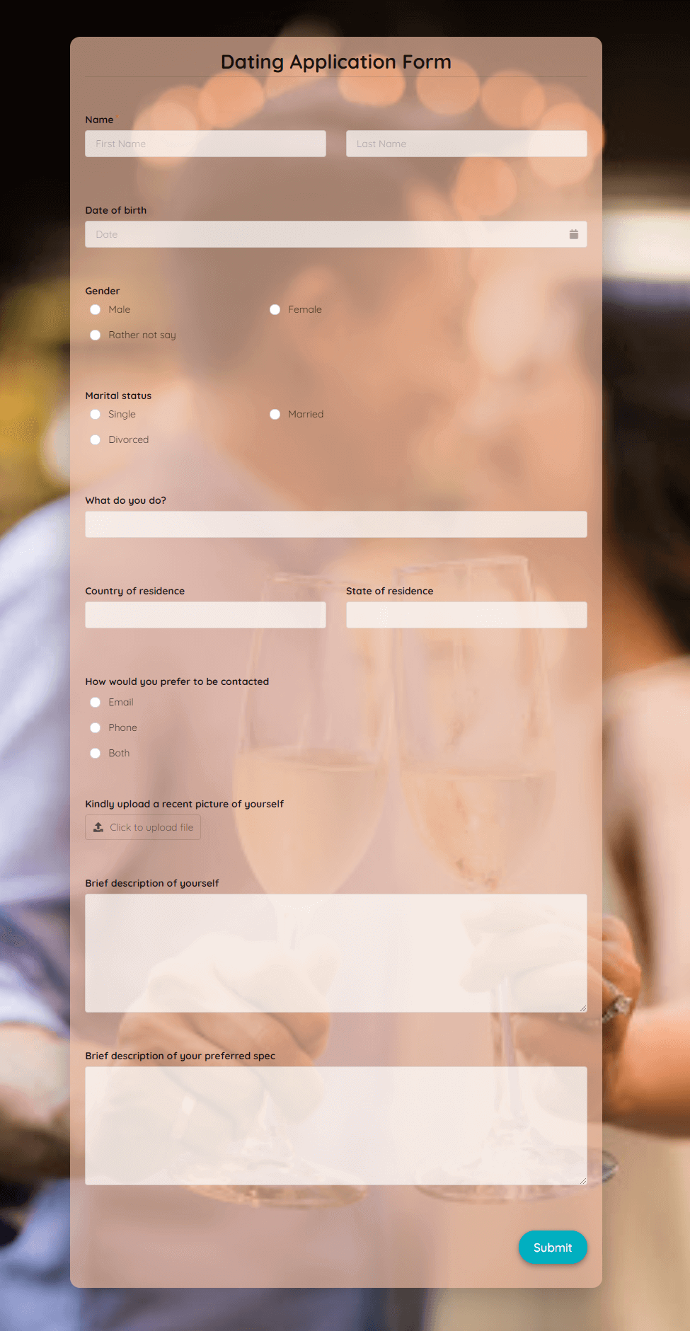 Dating Application Form Template template