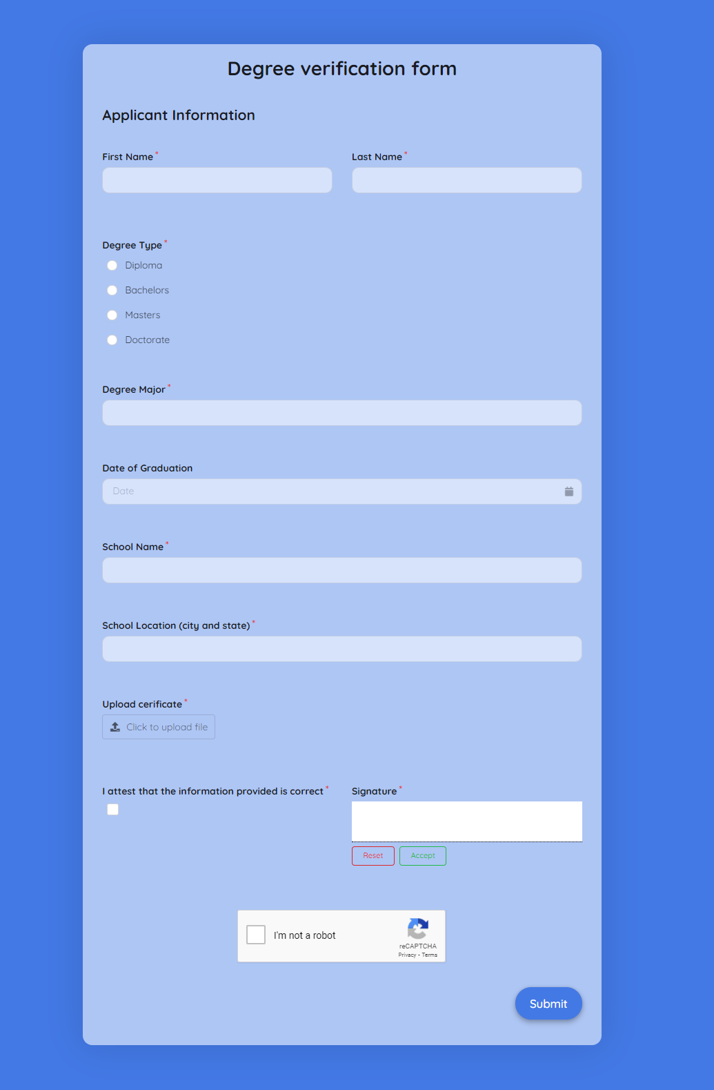 Degree Verification Form Template template