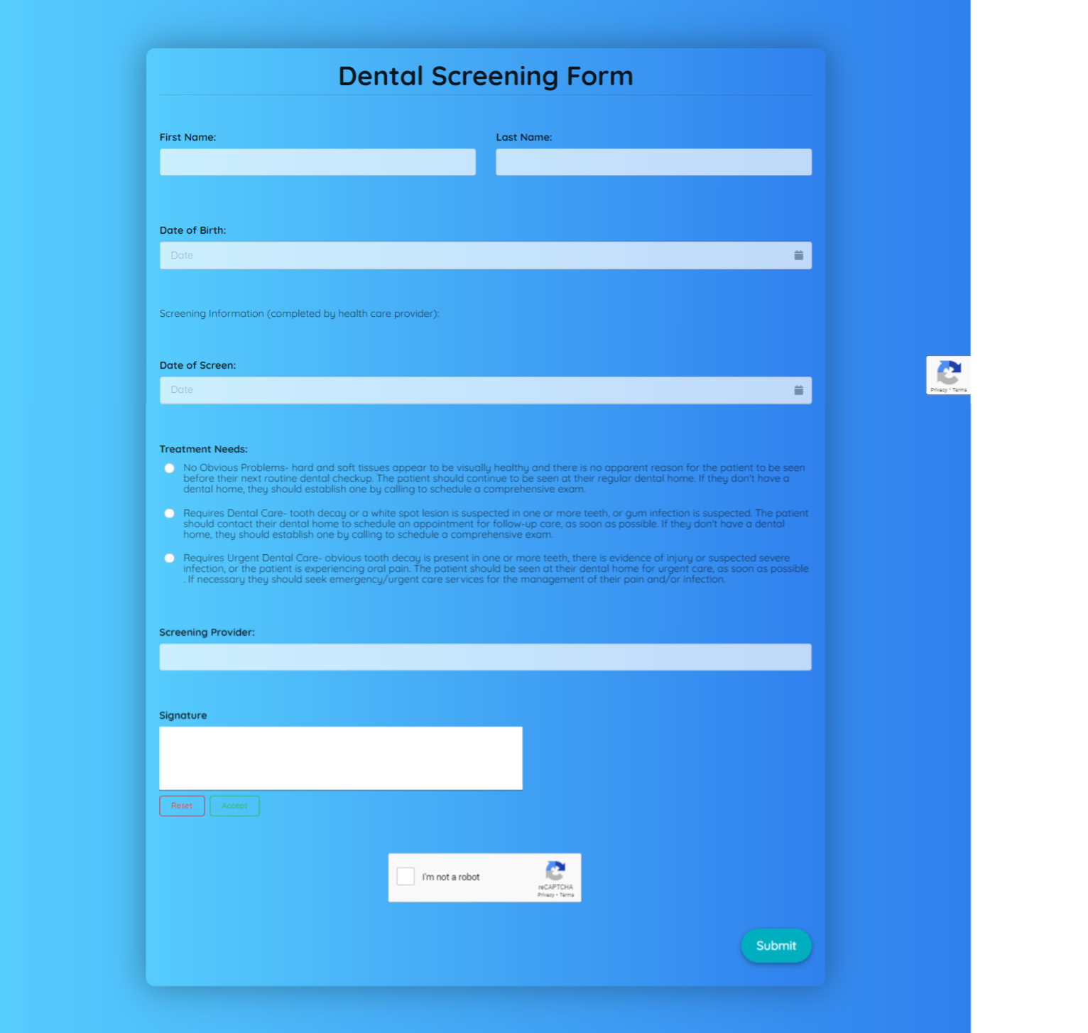 Dental Screening Form Template template