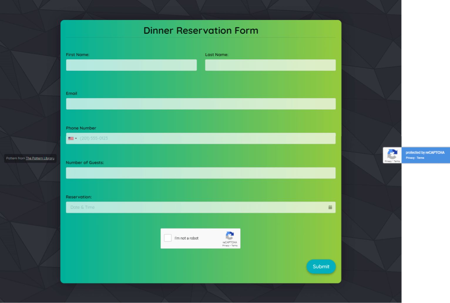 Dinner Reservation Form Template template