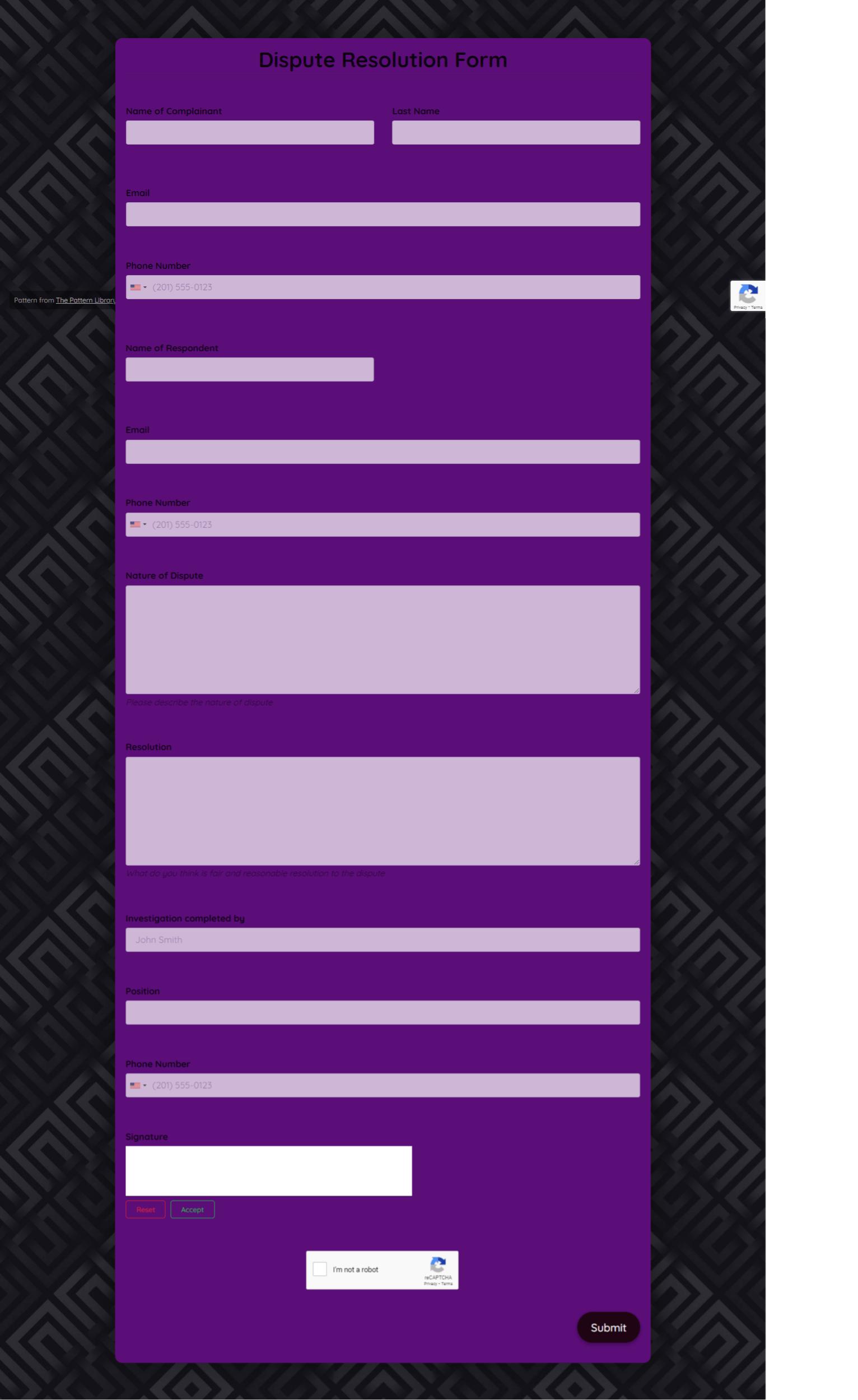 Dispute Resolution Form Template template