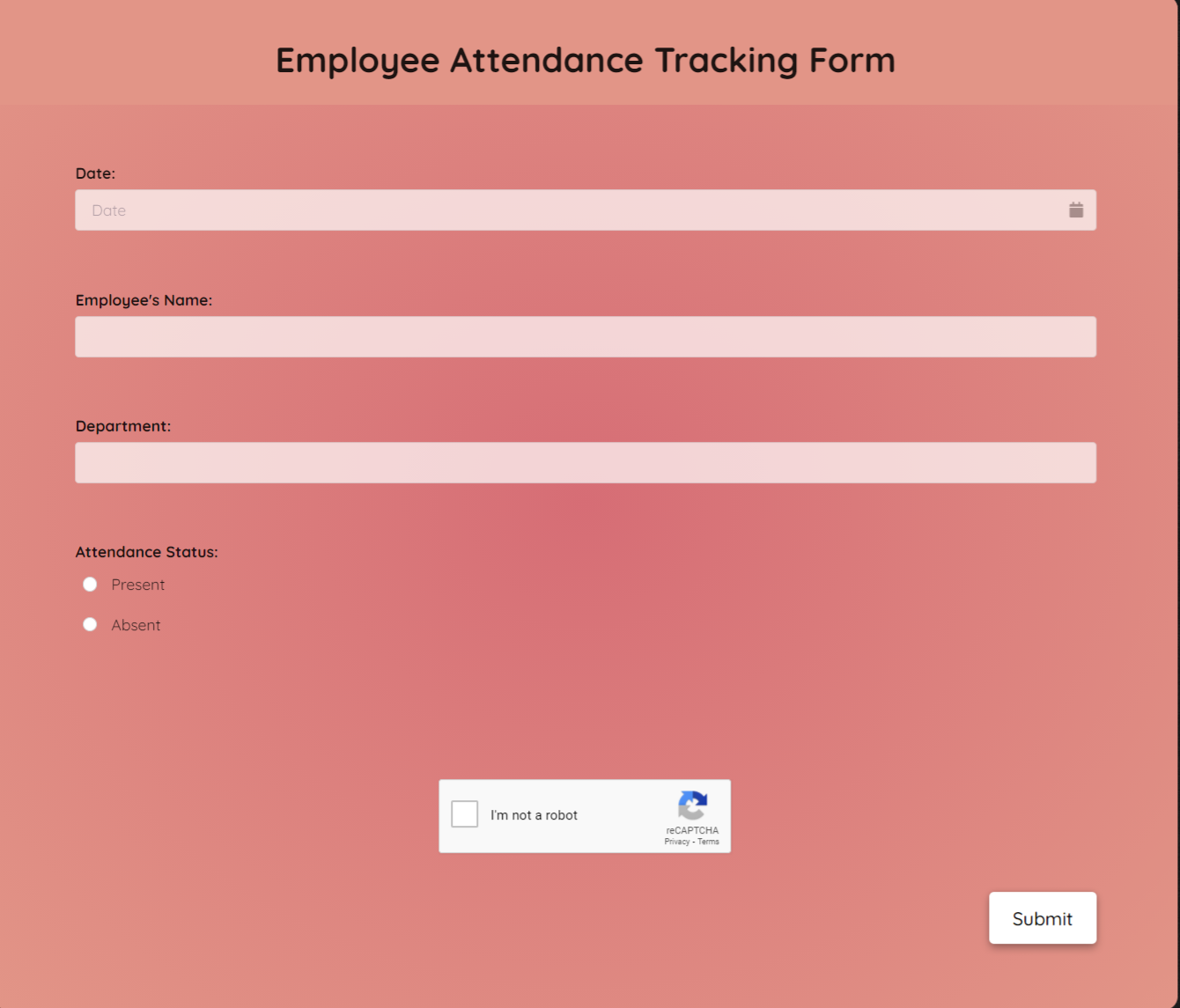 Employee Attendance Tracking Form Template template
