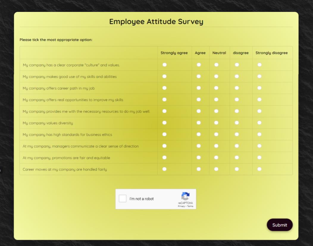 Employee Attitude Survey Template template