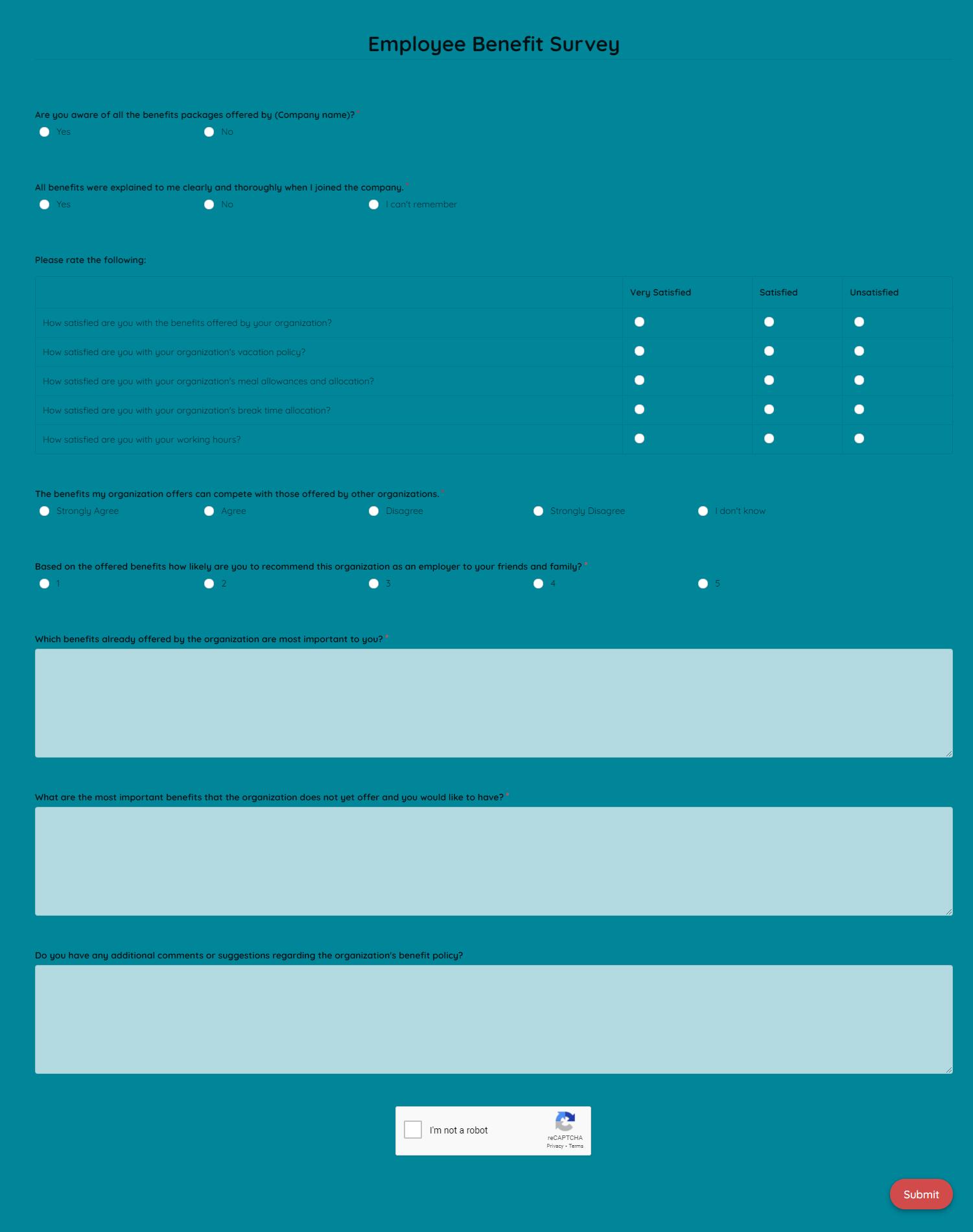 Employee Benefit Survey Template template