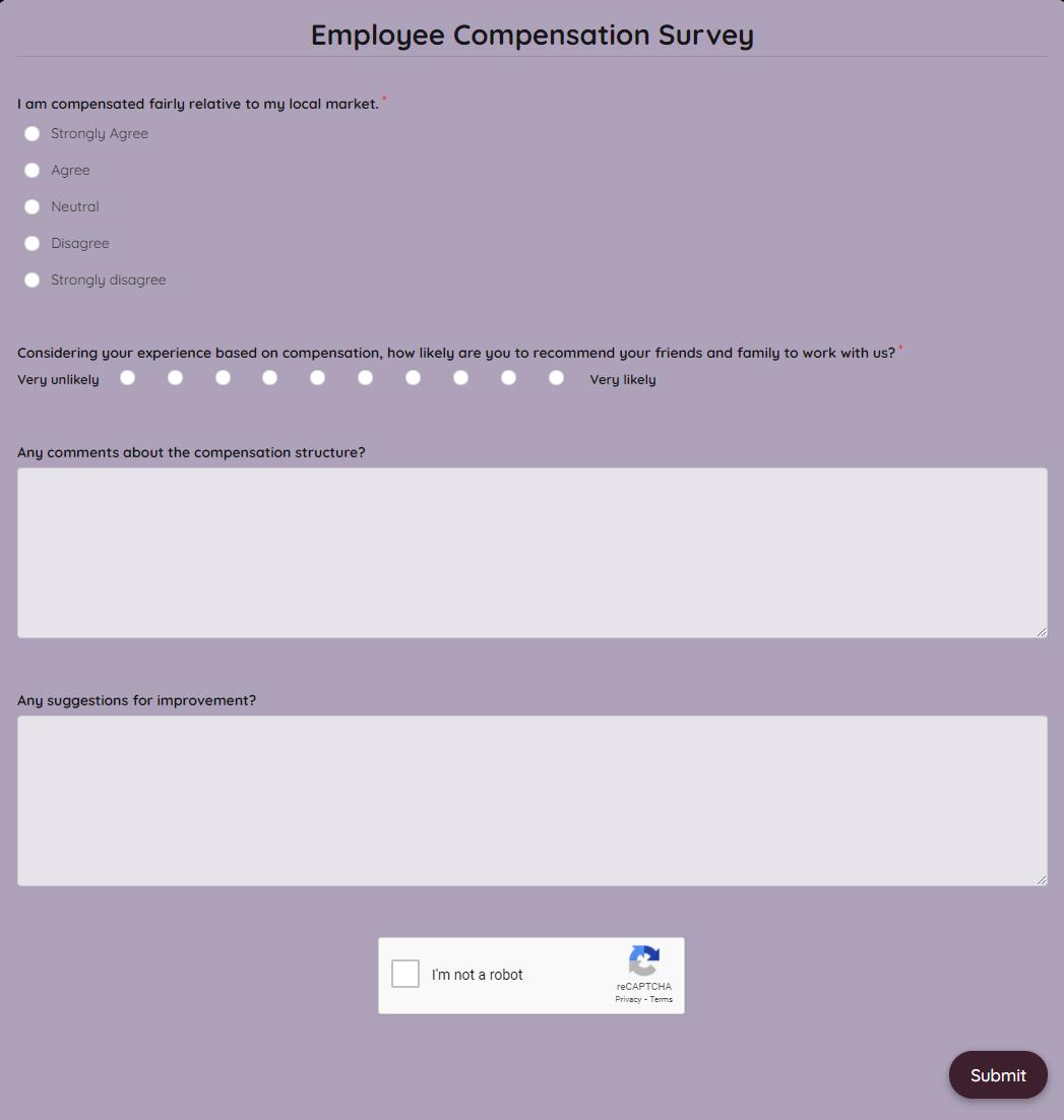 Employee Compensation Survey Template template