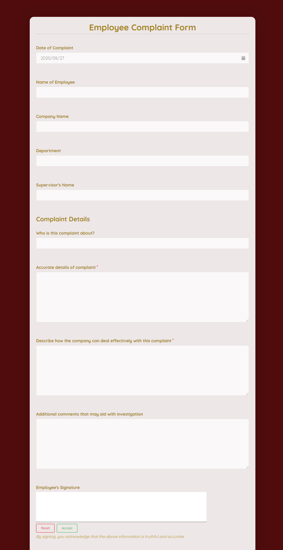 Employee Complaint Form Template template