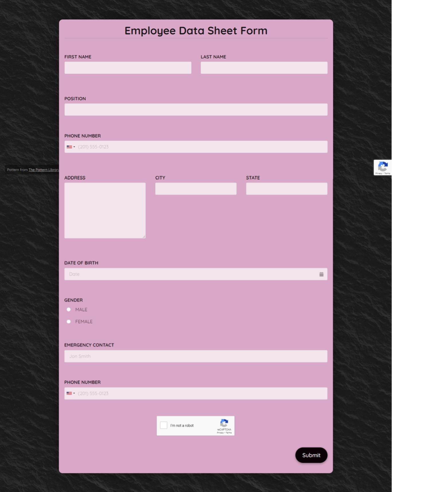 Employee Data Sheet Form Template template