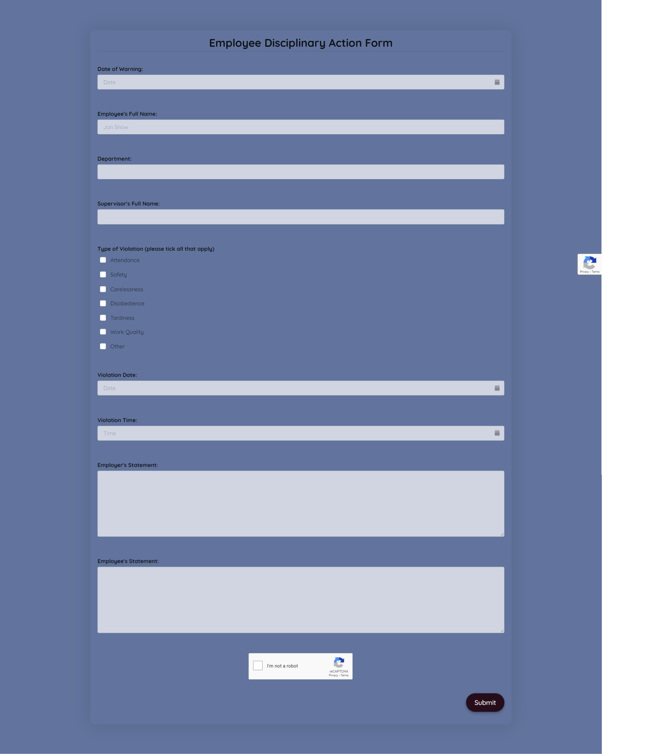Employee Disciplinary Action Form Template template