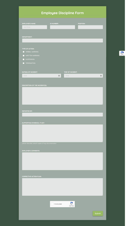 Free Employee Discipline Form  Template template