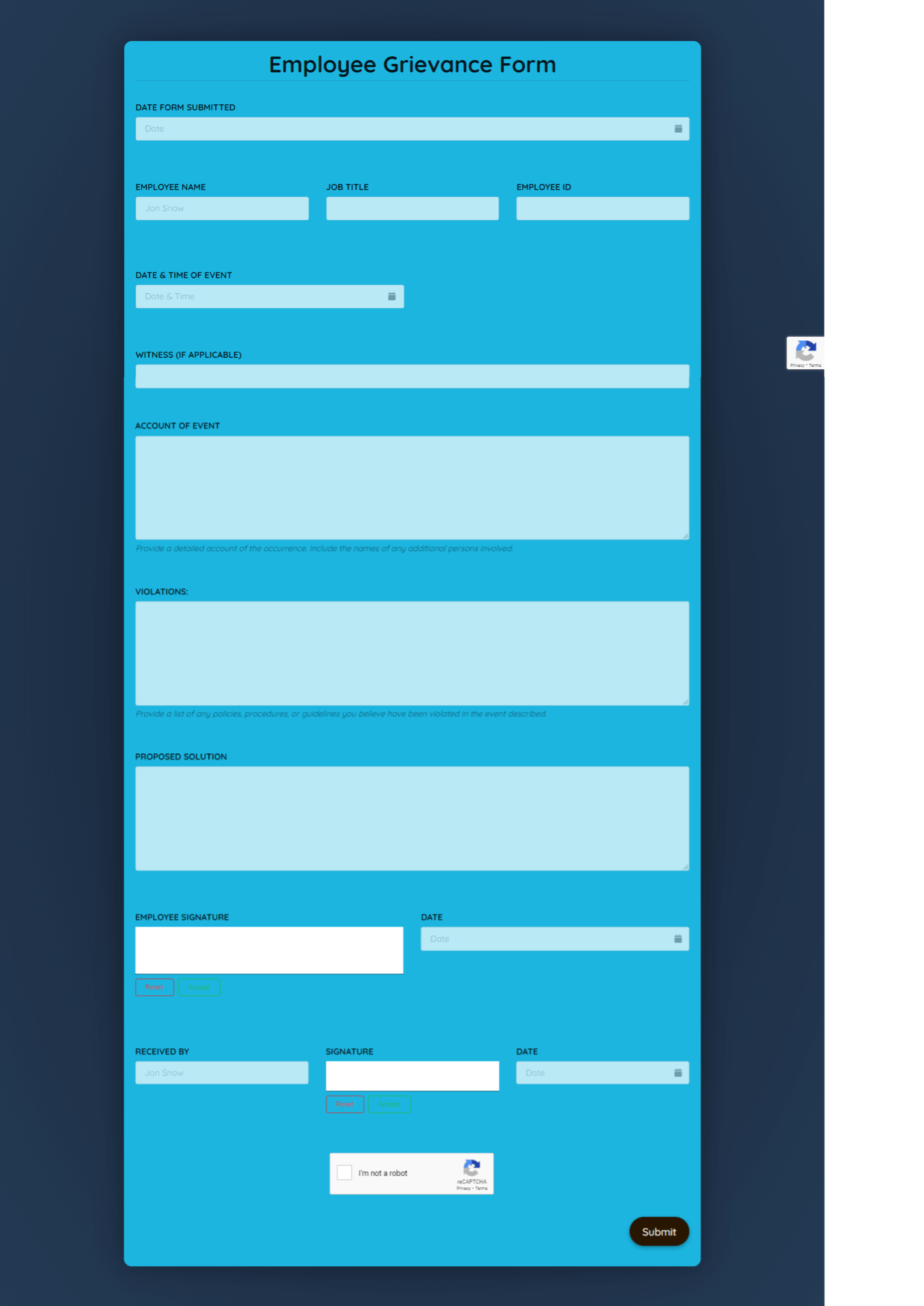Free Employee Grievance Form Template template
