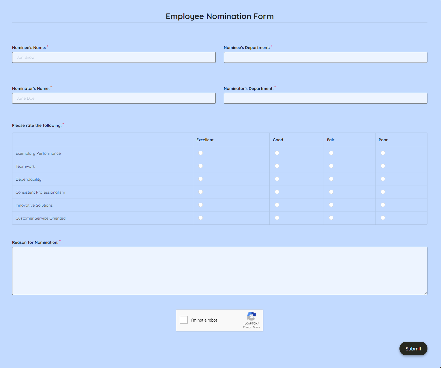 Employee Nomination Form Template template