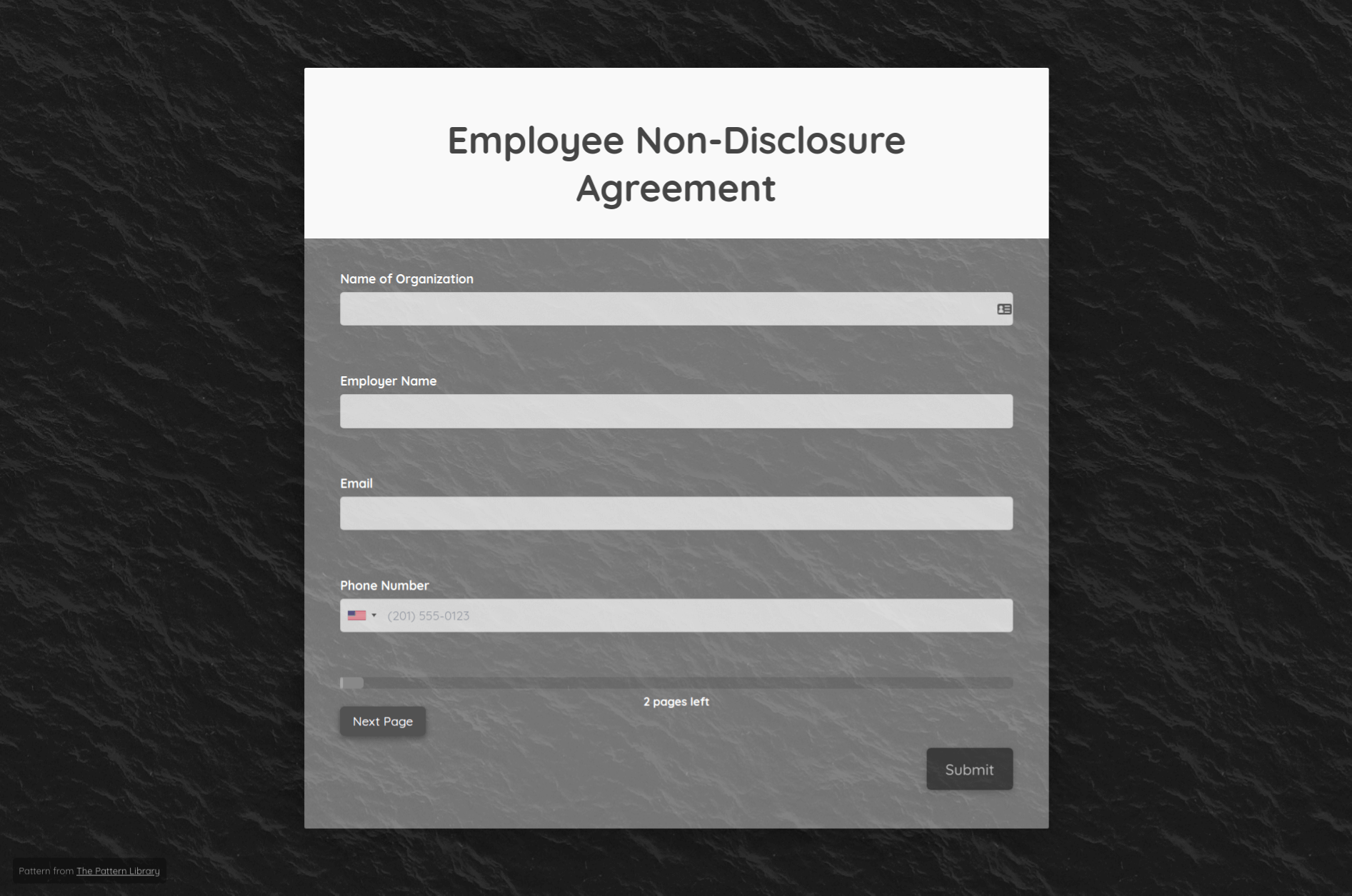 Non Disclosure Agreement Form Template template