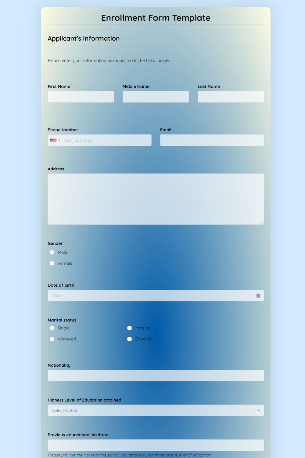 Enrollment Form Template template
