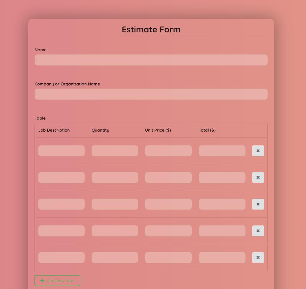 Estimate Form Template template