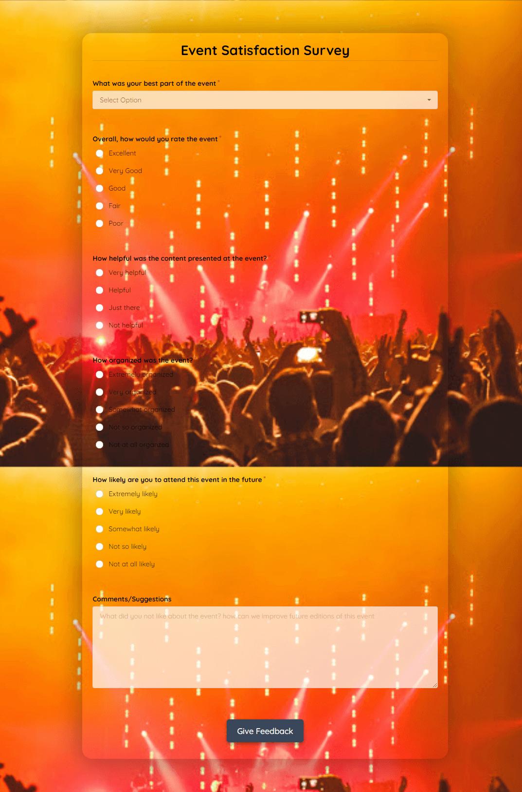 Event Satisfaction Survey Template template