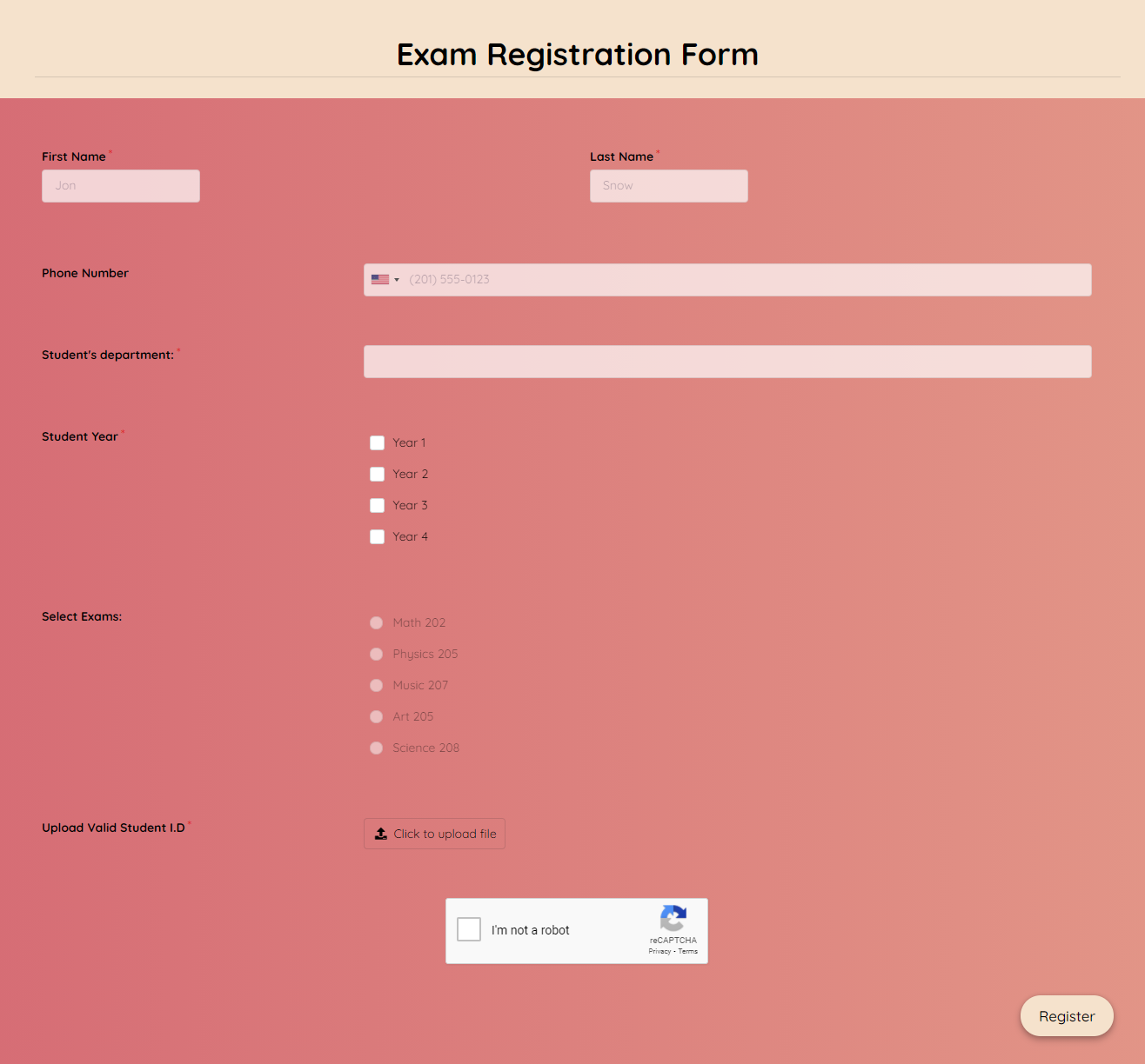 Exam Registration Form Template template