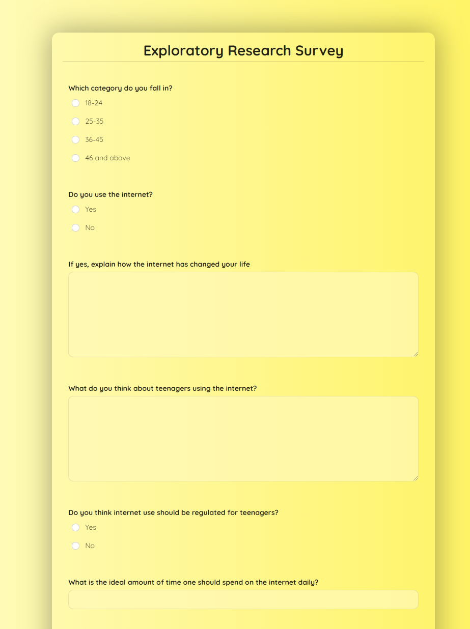 Exploratory Research Survey Template template