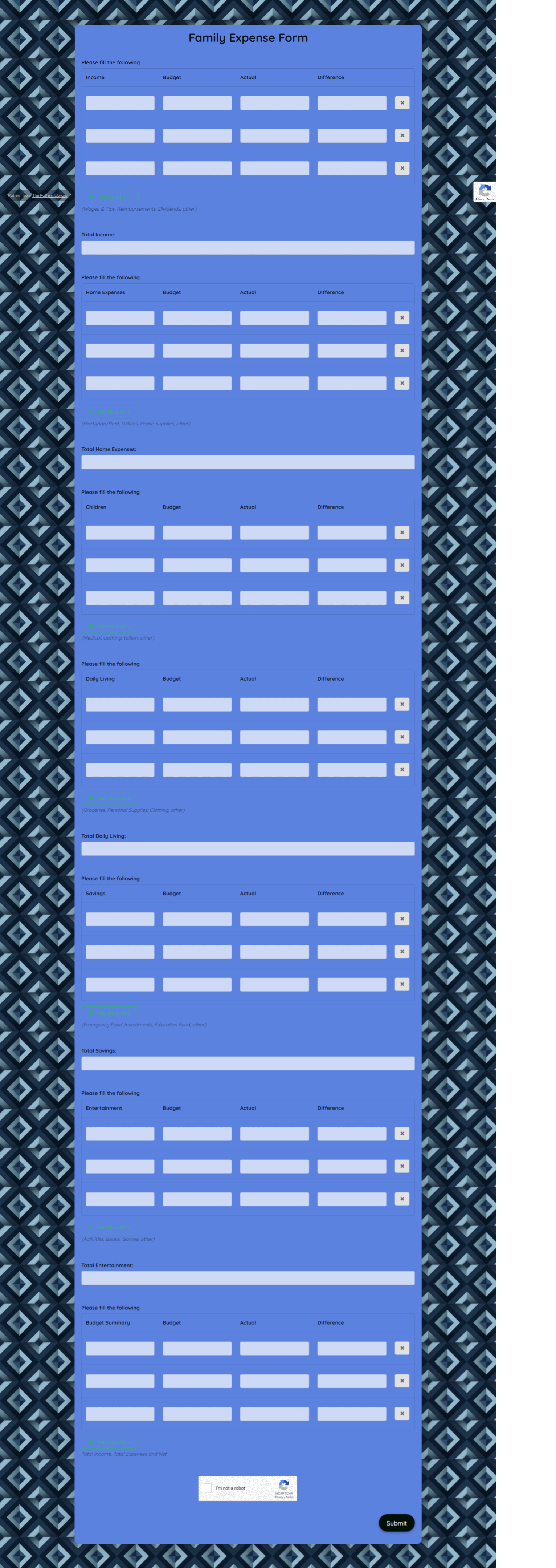 Family Expense Form Template template