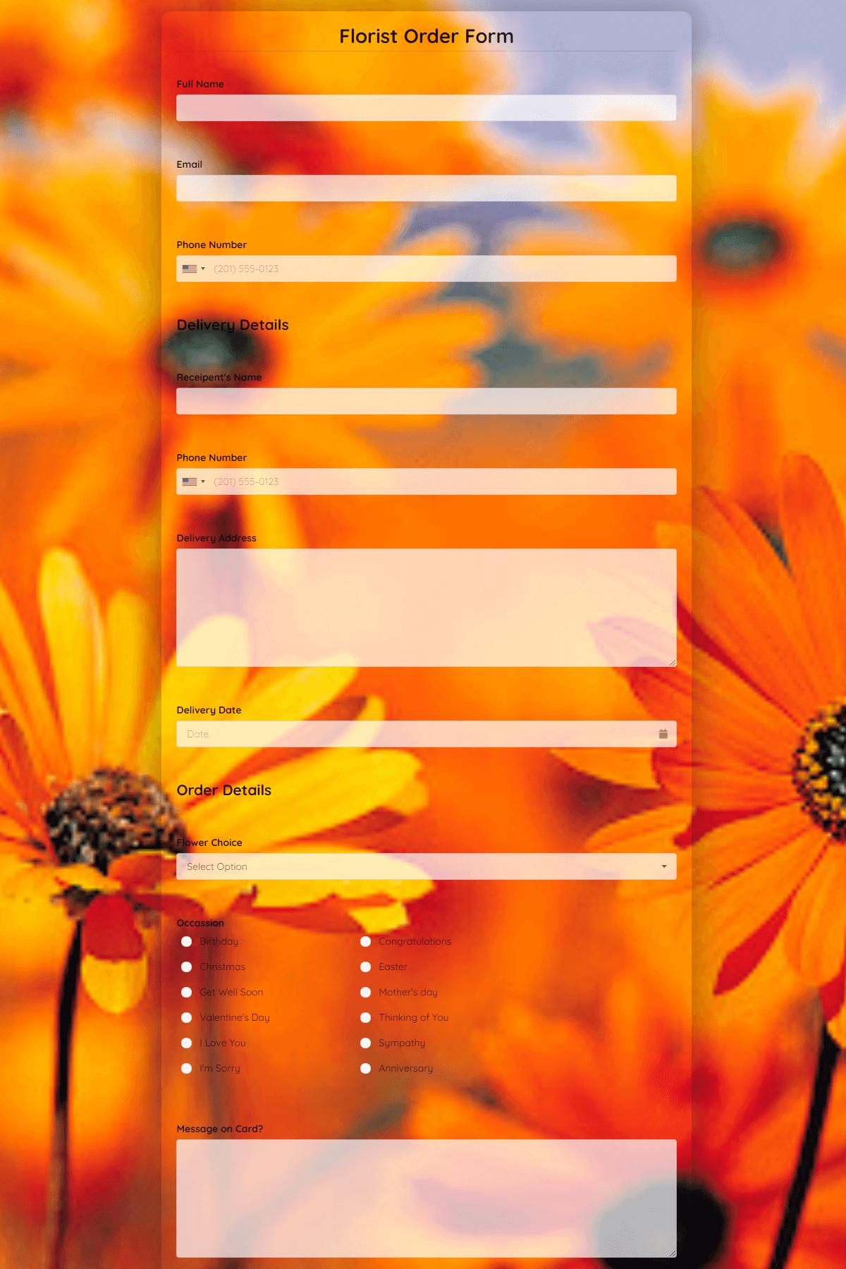 Florist Order Form Template template