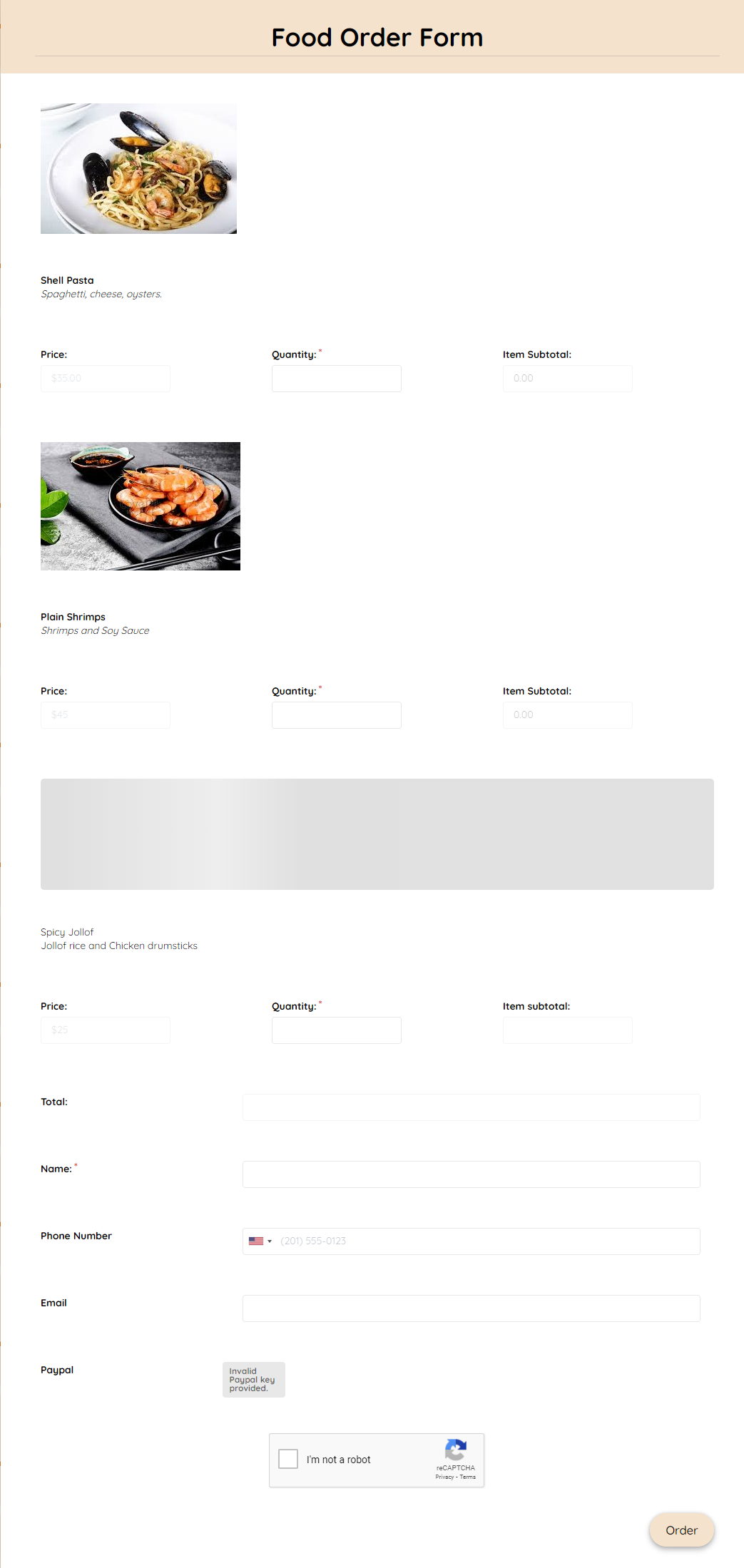 Food Order Form Template template