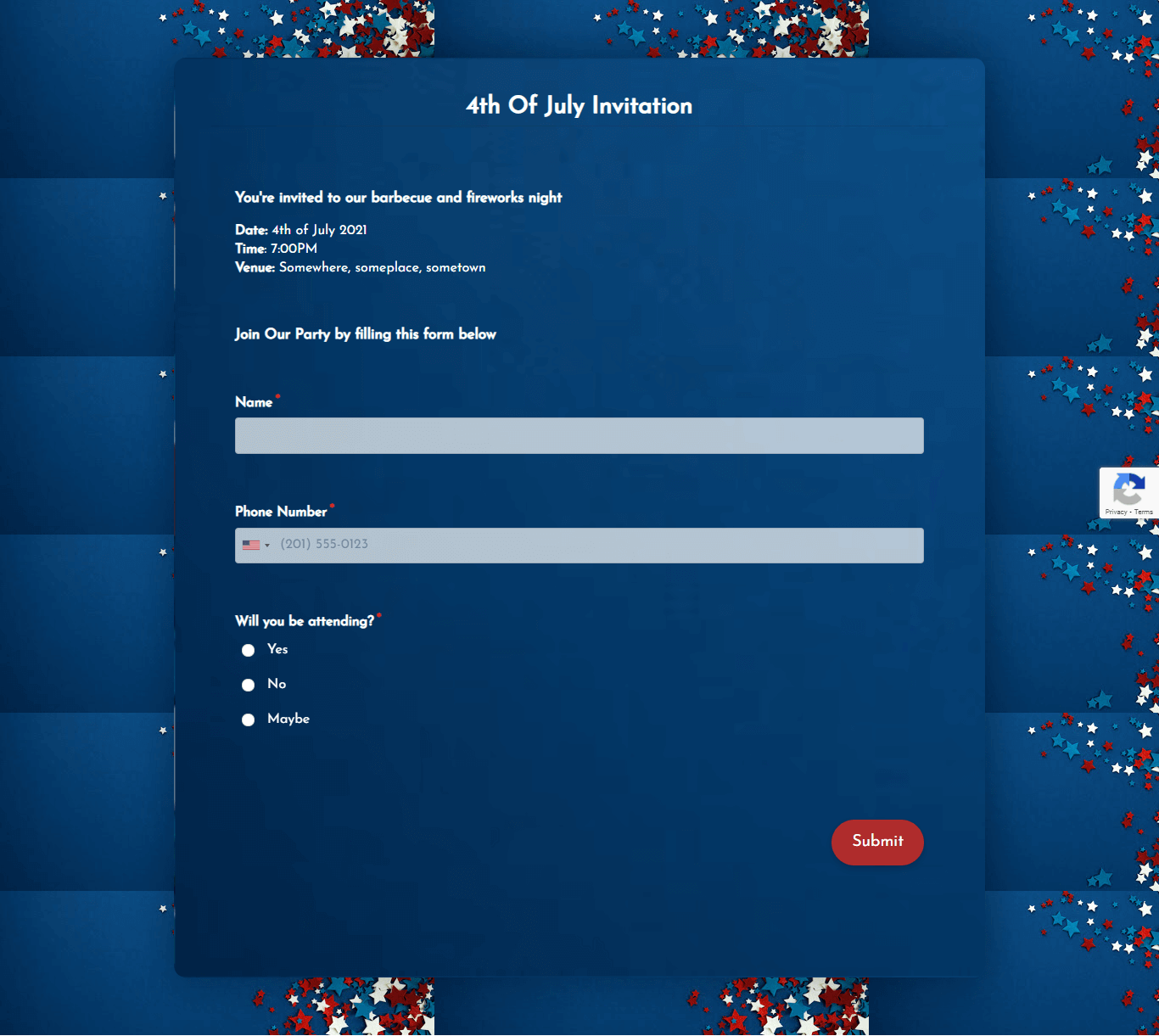 Fourth Of July Invitation Form Template template