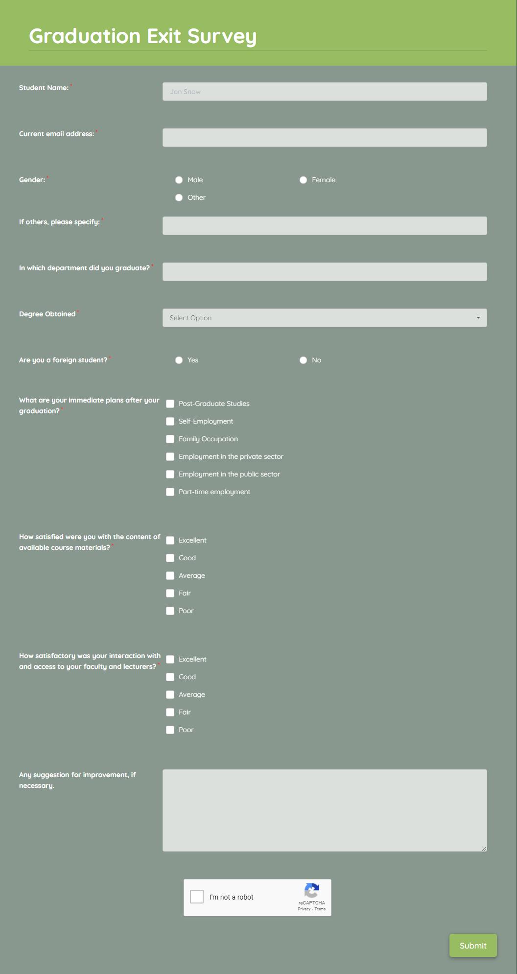 Graduation Exit Survey Template template