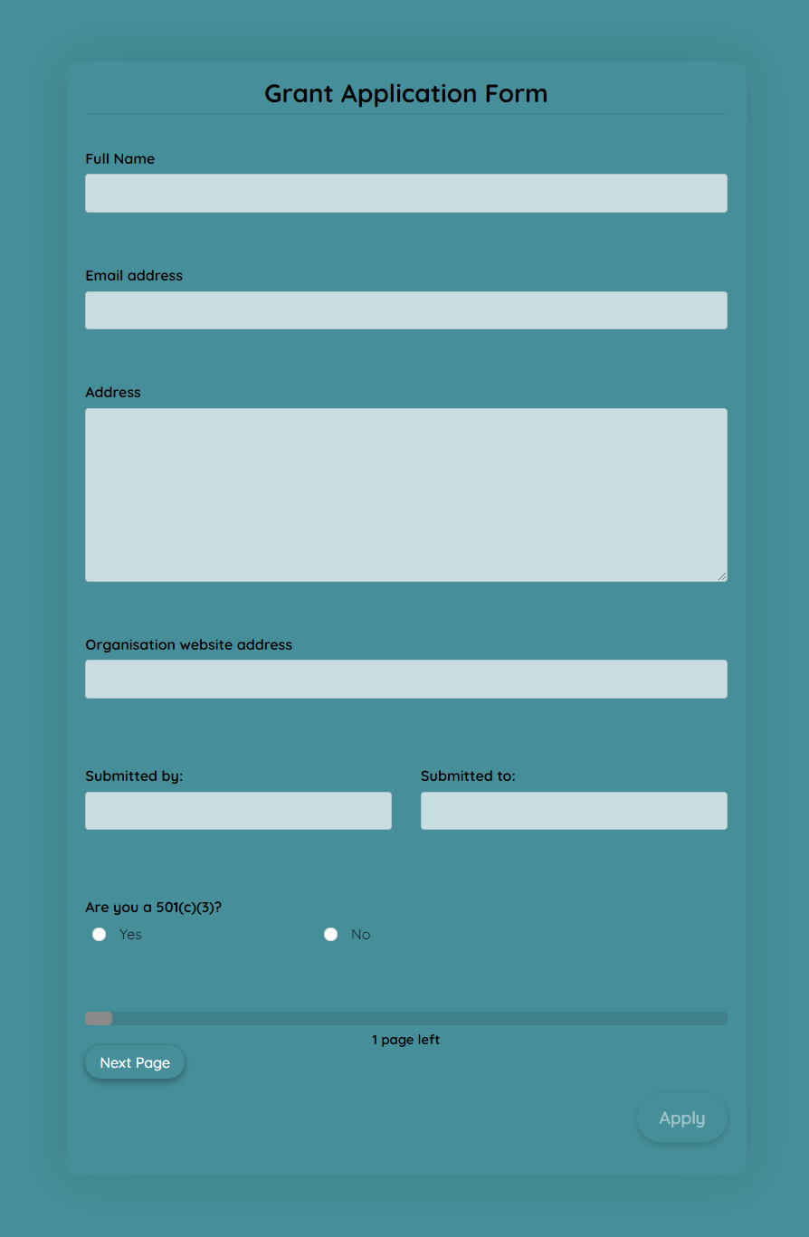 Grant Application Form Template template