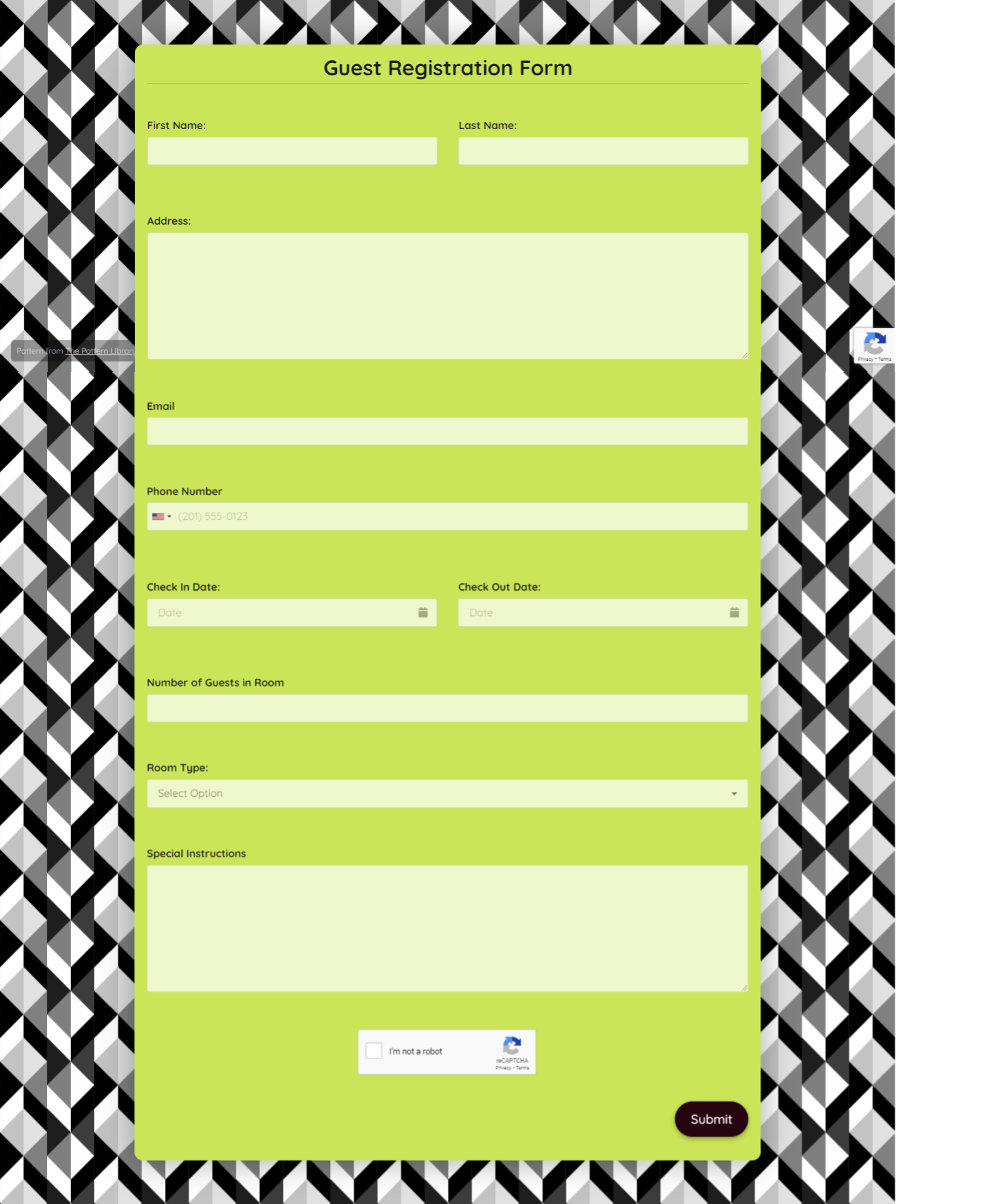 Guest Registration Form Template template