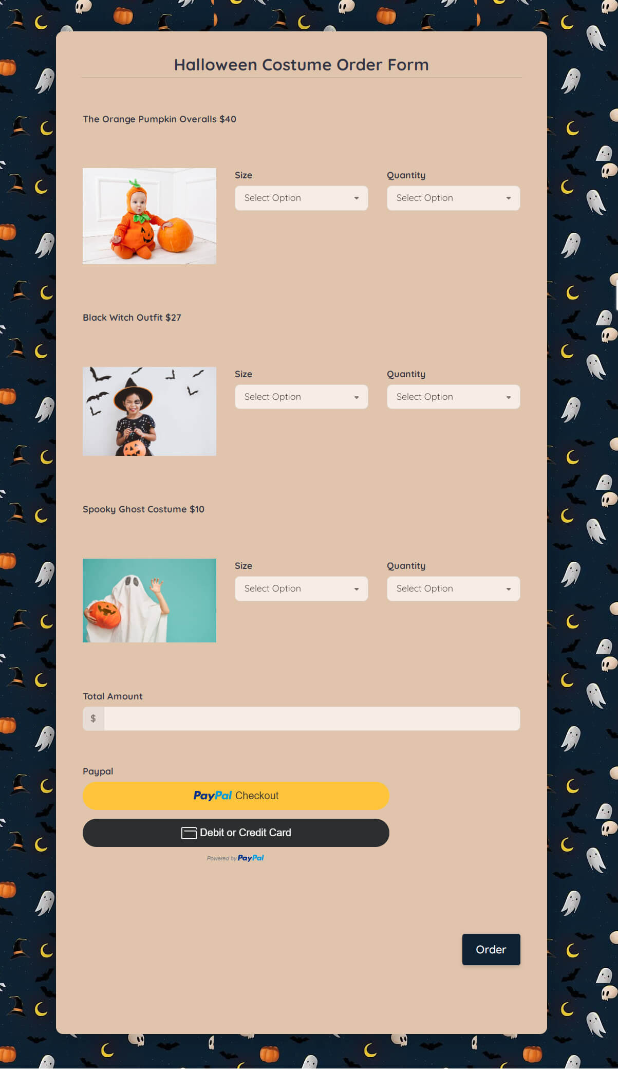 Halloween Costume Order Form Template template