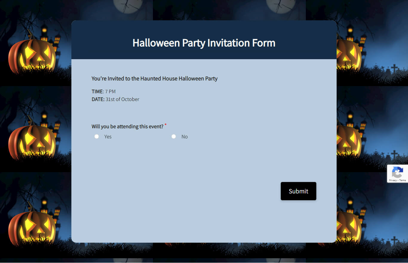Halloween Party Invitation Form Template template